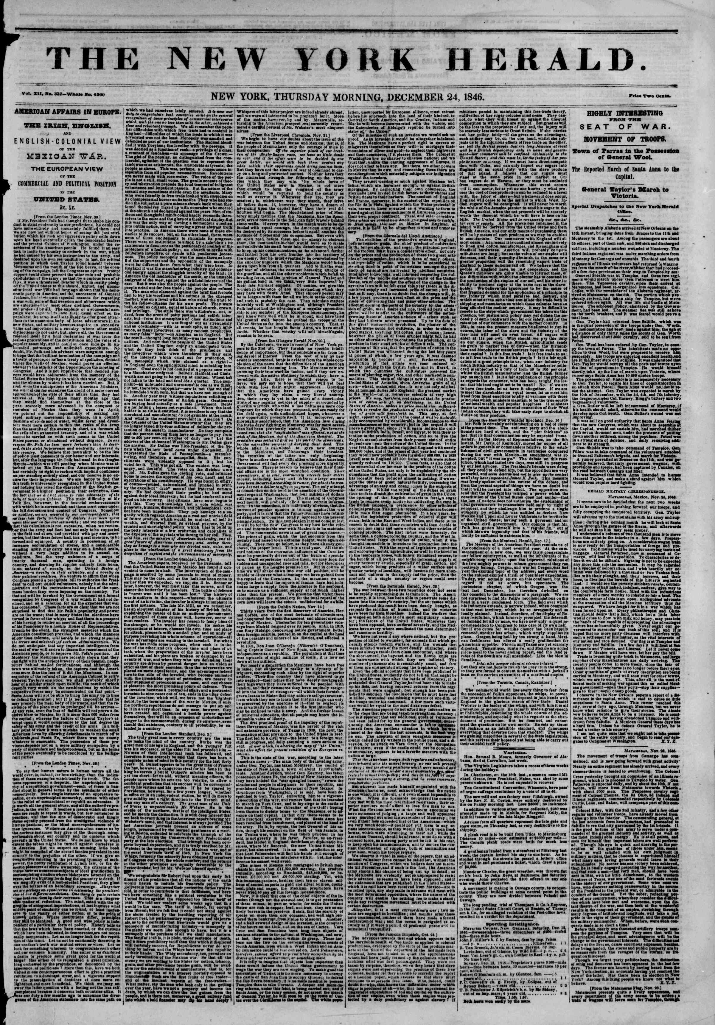 Newspaper of The New York Herald dated December 24, 1846 Page 1