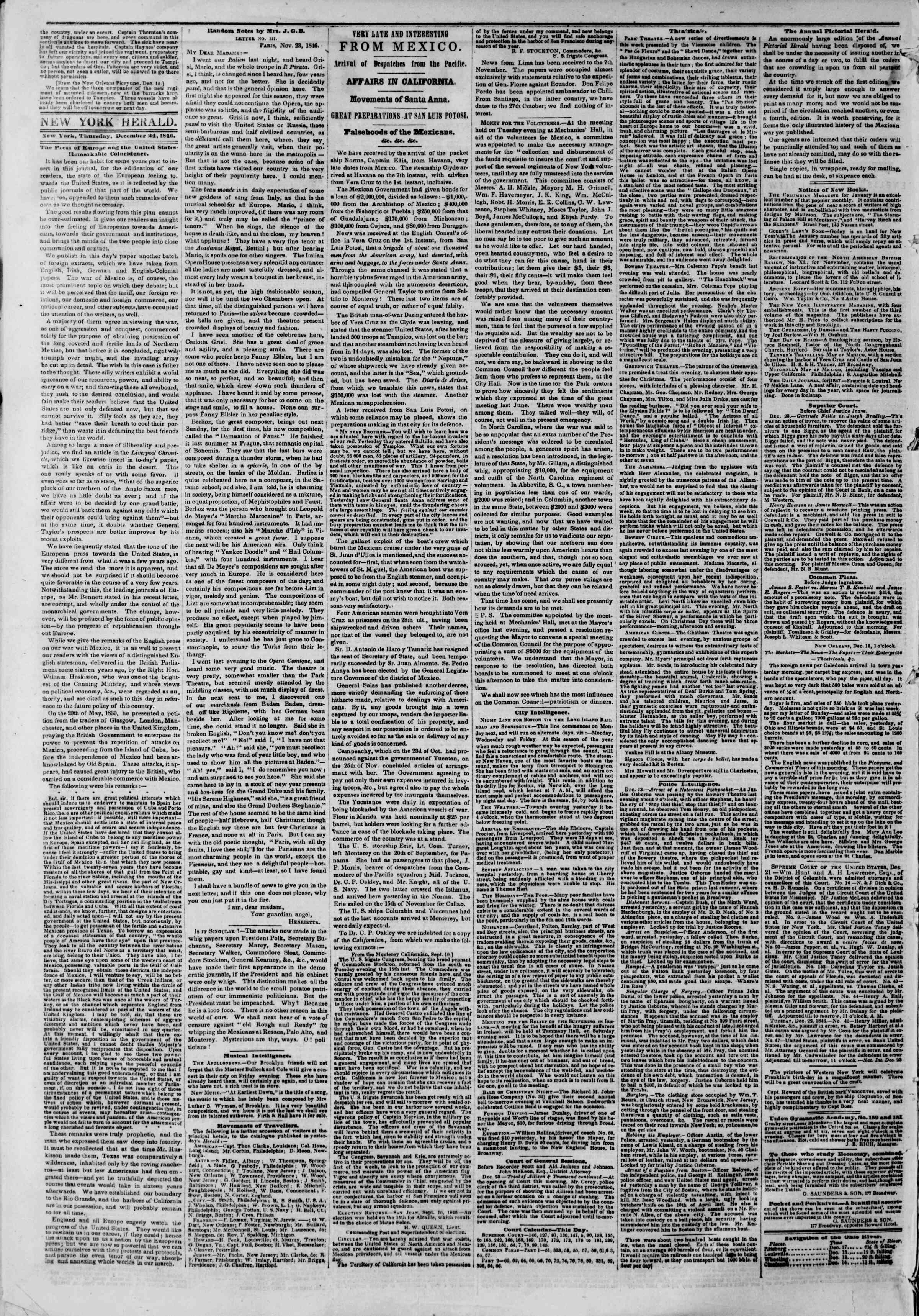 Newspaper of The New York Herald dated December 24, 1846 Page 2