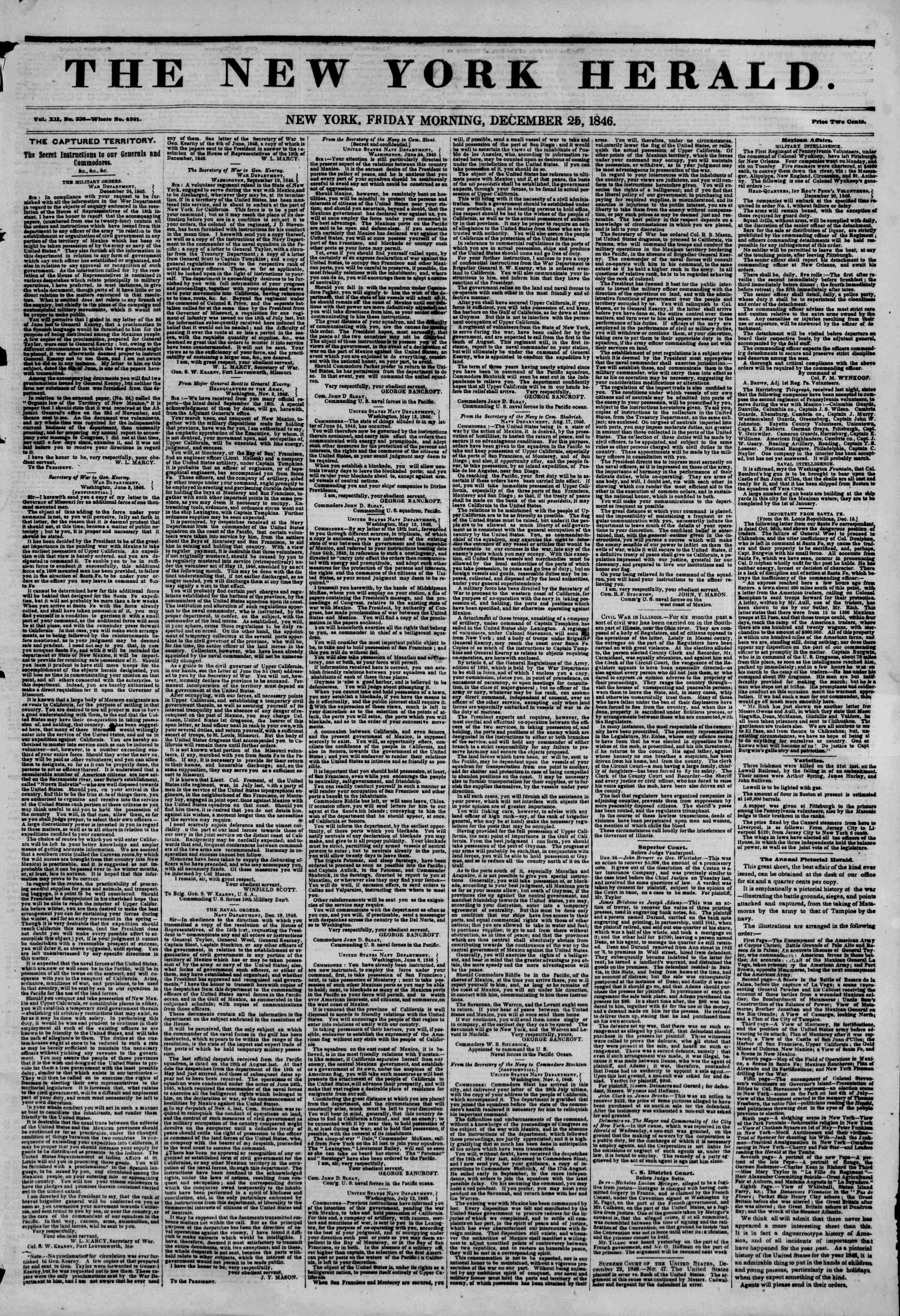 Newspaper of The New York Herald dated December 25, 1846 Page 1