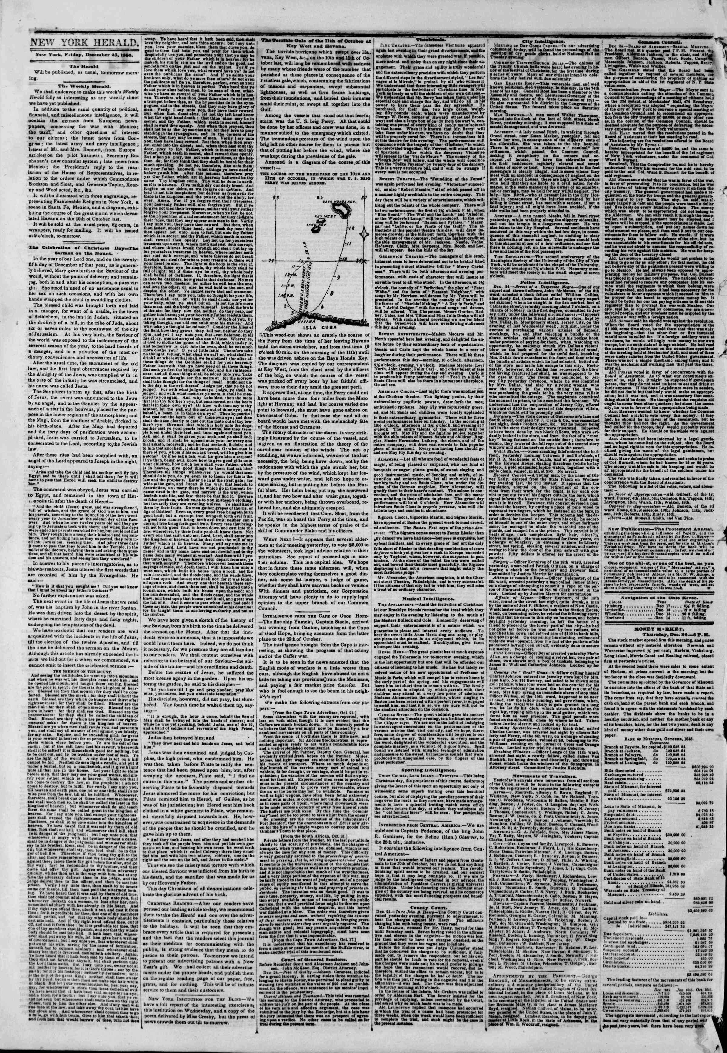 Newspaper of The New York Herald dated December 25, 1846 Page 2
