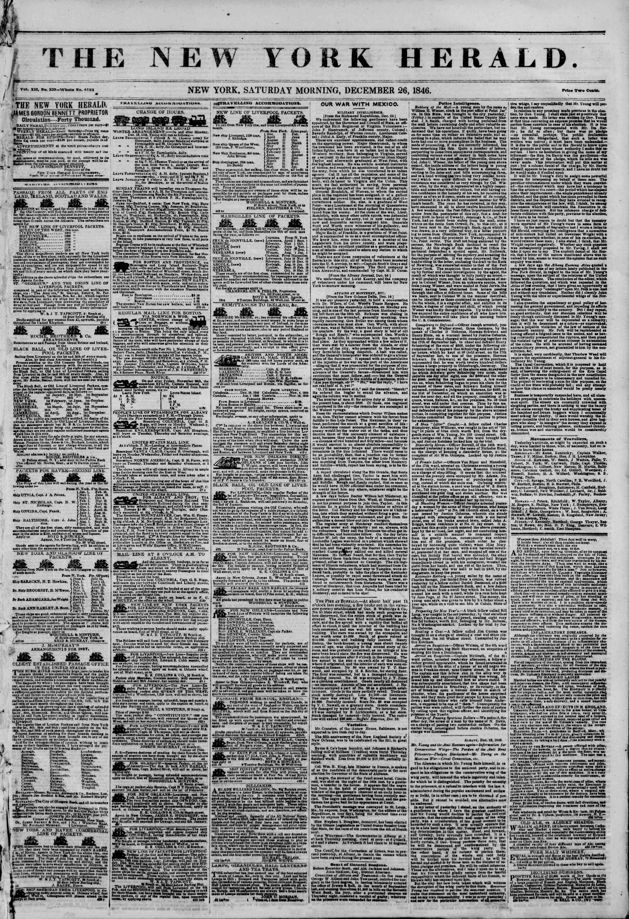 Newspaper of The New York Herald dated December 26, 1846 Page 1
