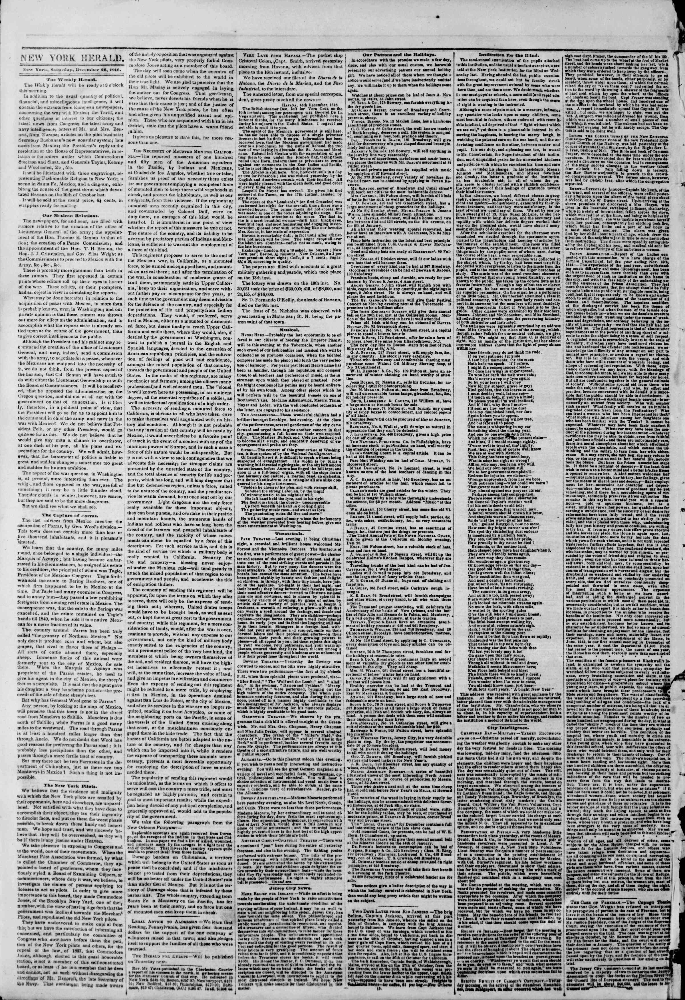Newspaper of The New York Herald dated December 26, 1846 Page 2