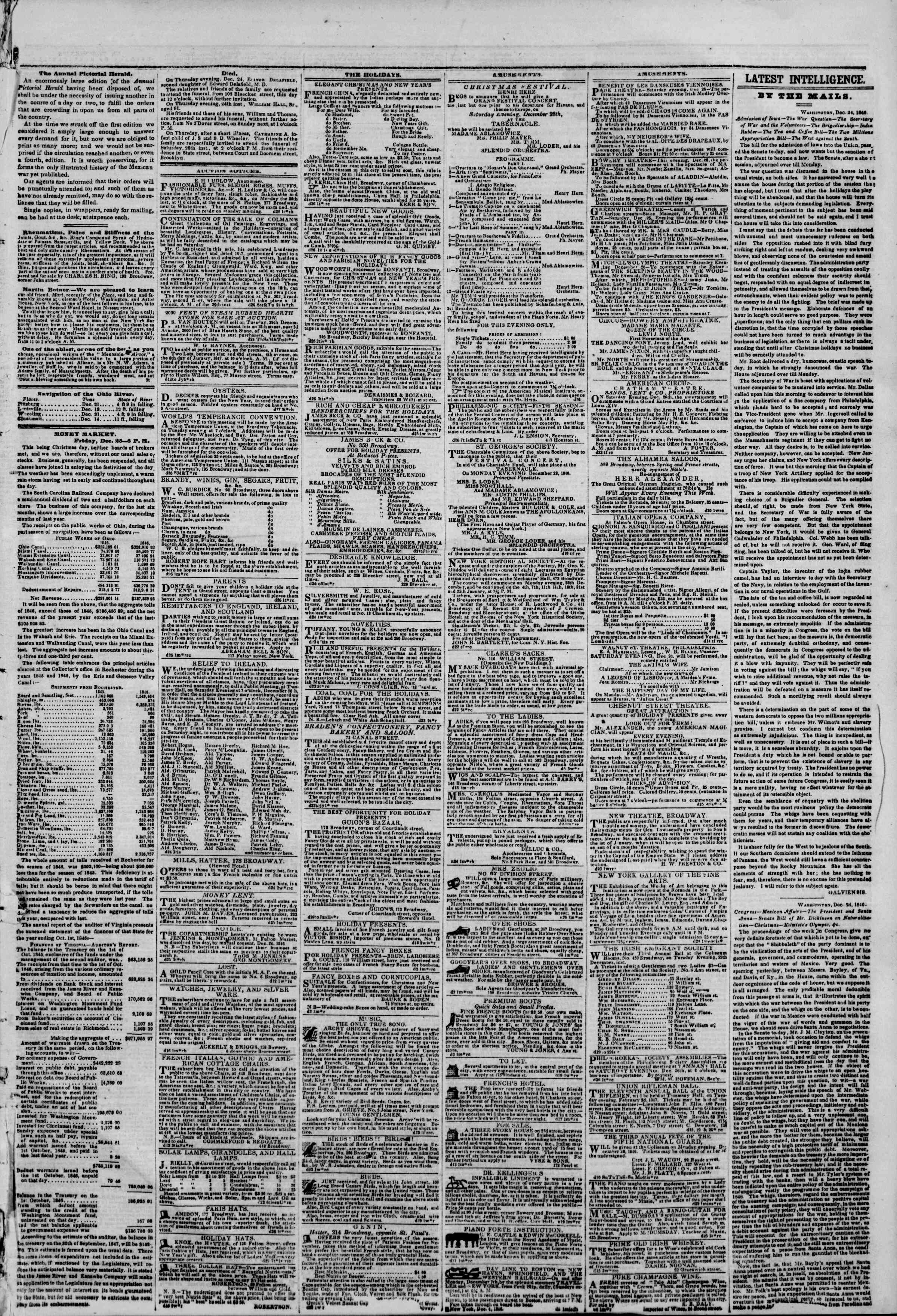 Newspaper of The New York Herald dated December 26, 1846 Page 3