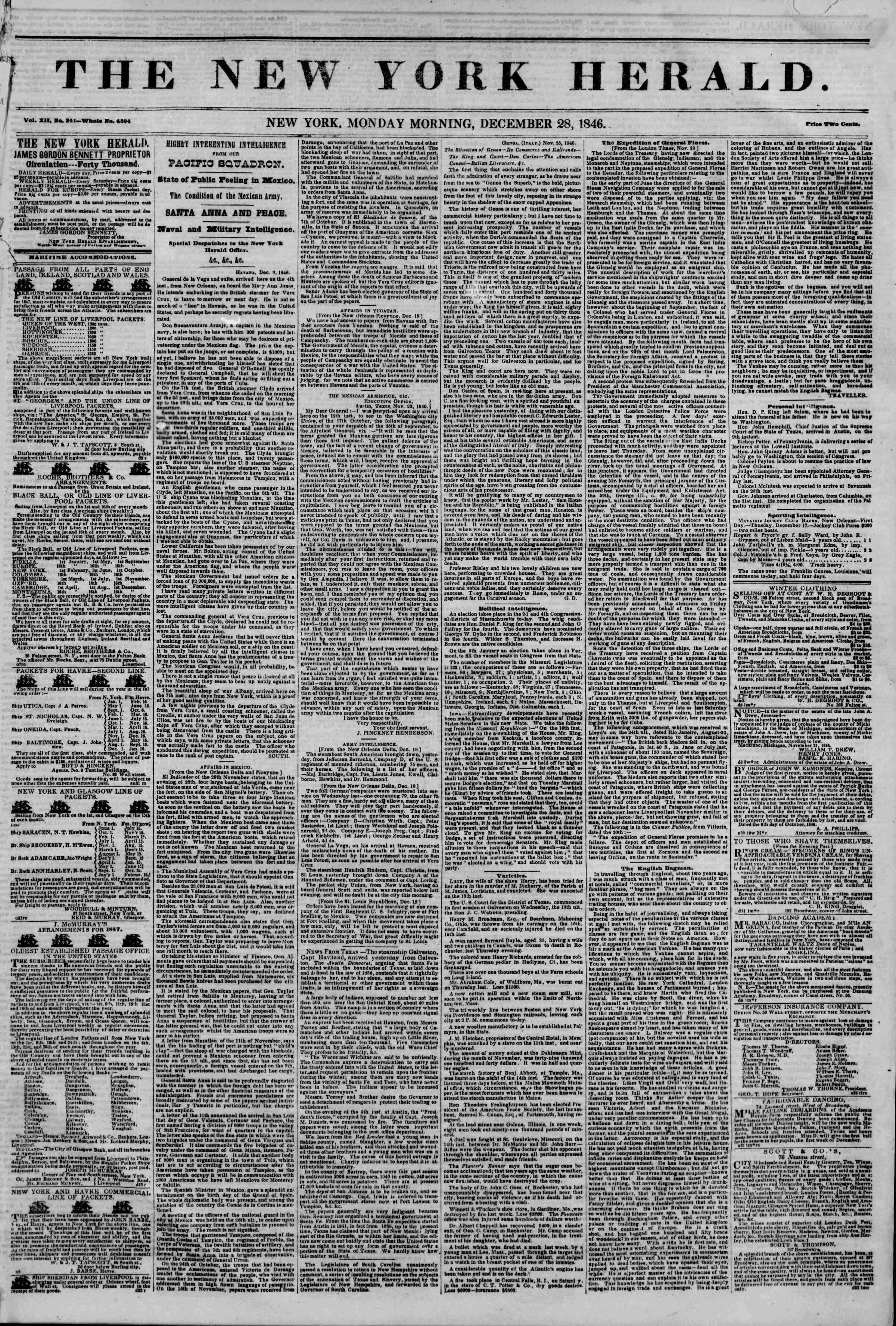 Newspaper of The New York Herald dated December 28, 1846 Page 1