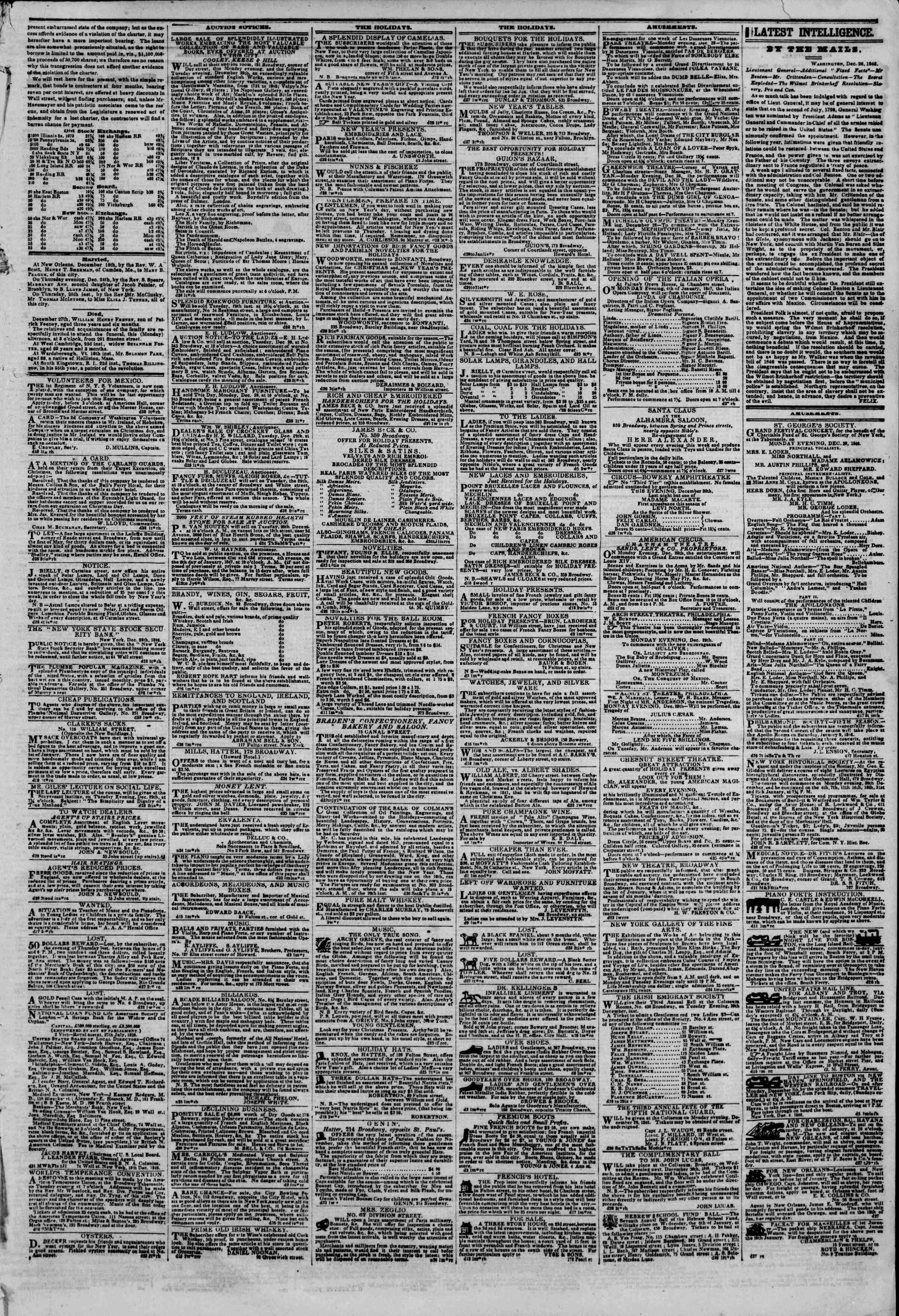 Newspaper of The New York Herald dated December 28, 1846 Page 3