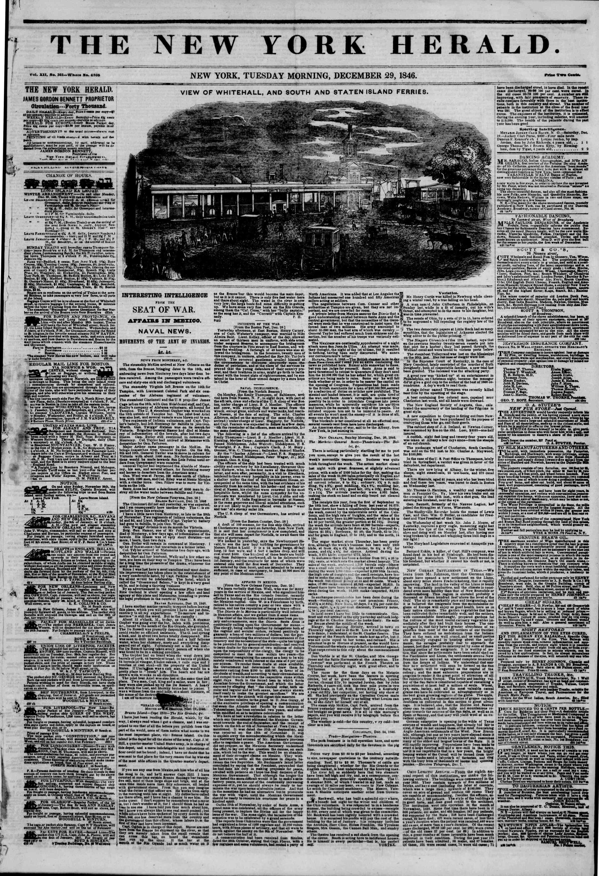 Newspaper of The New York Herald dated December 29, 1846 Page 1
