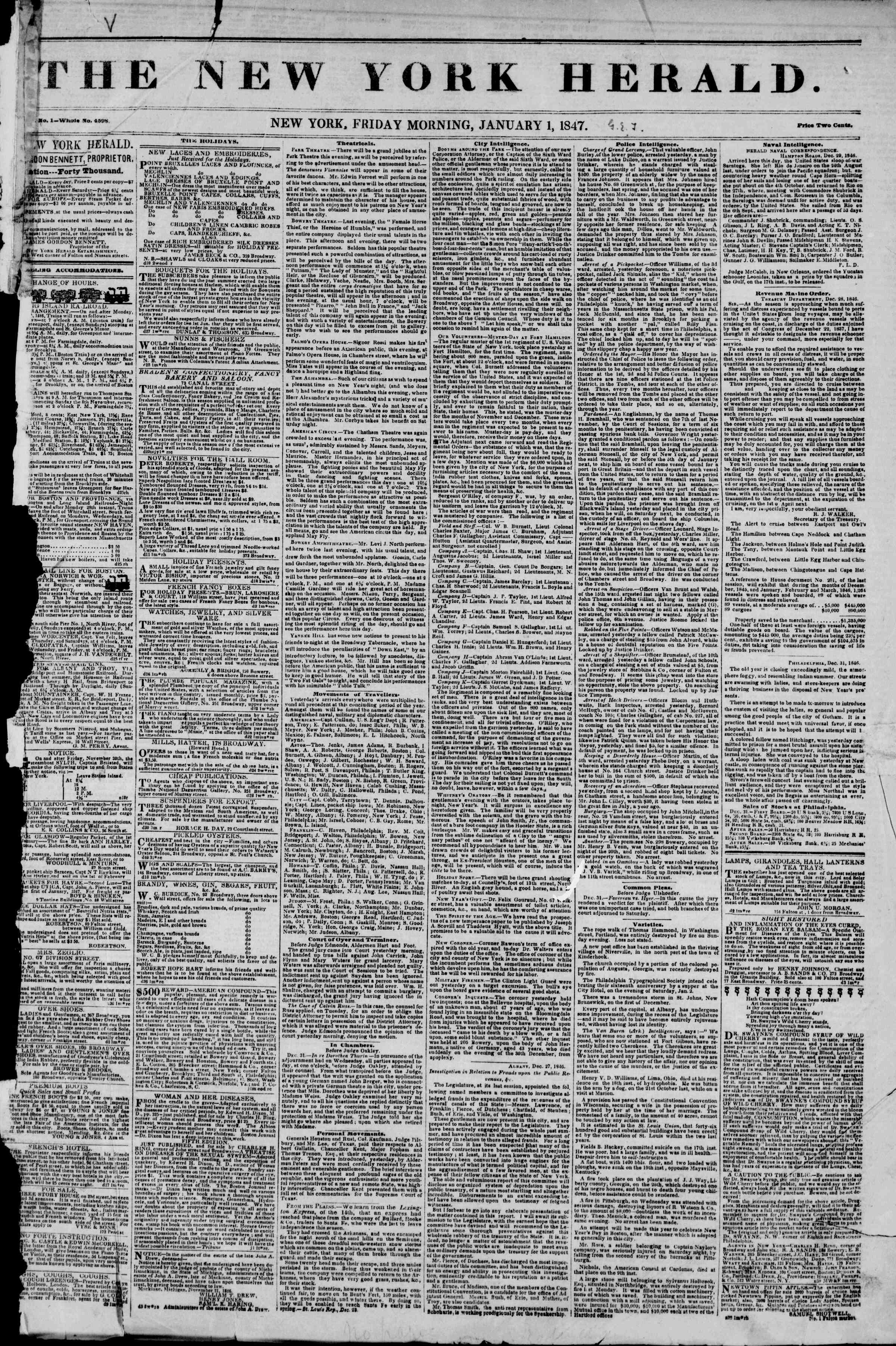 Newspaper of The New York Herald dated January 1, 1847 Page 1