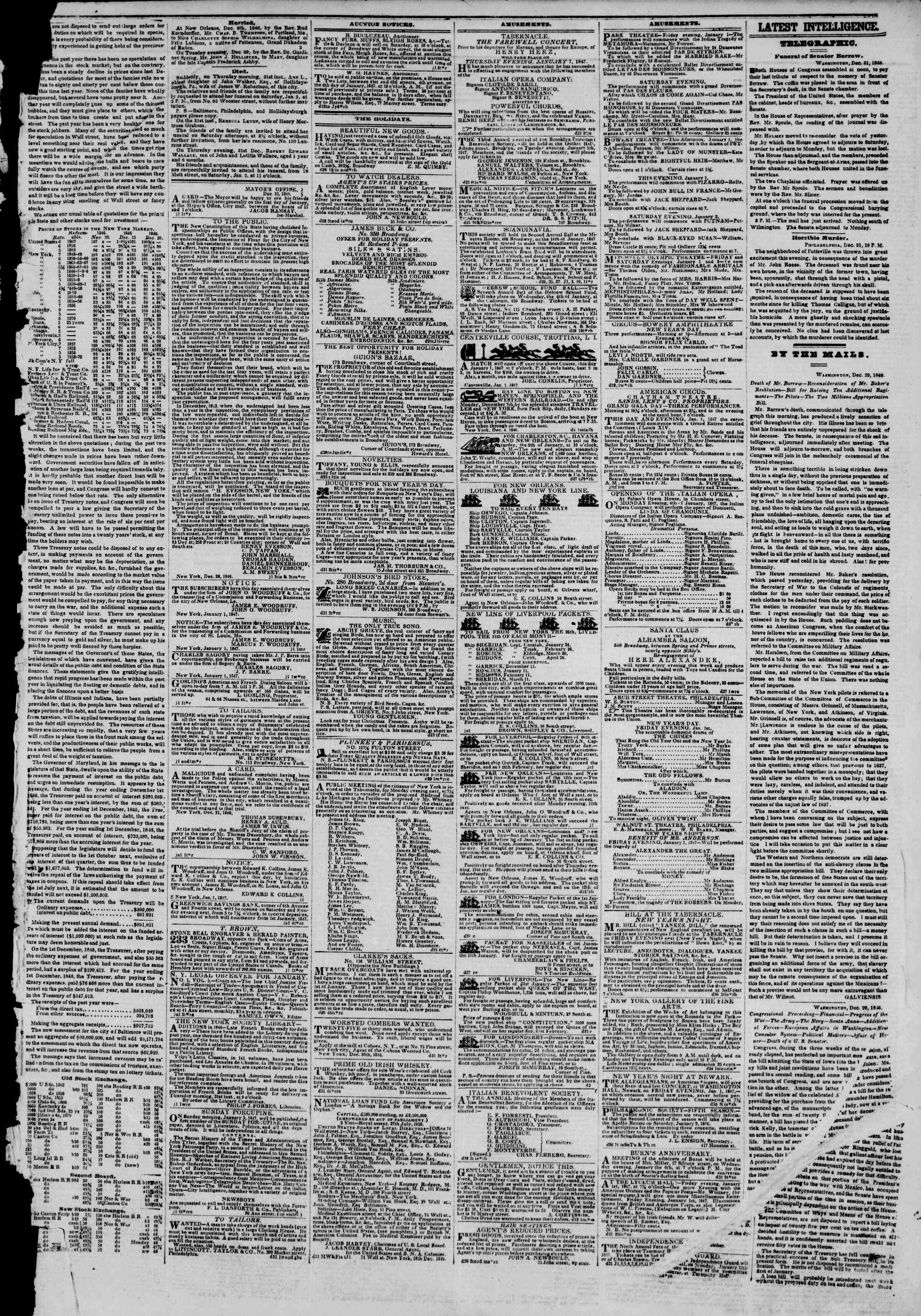 Newspaper of The New York Herald dated January 1, 1847 Page 3