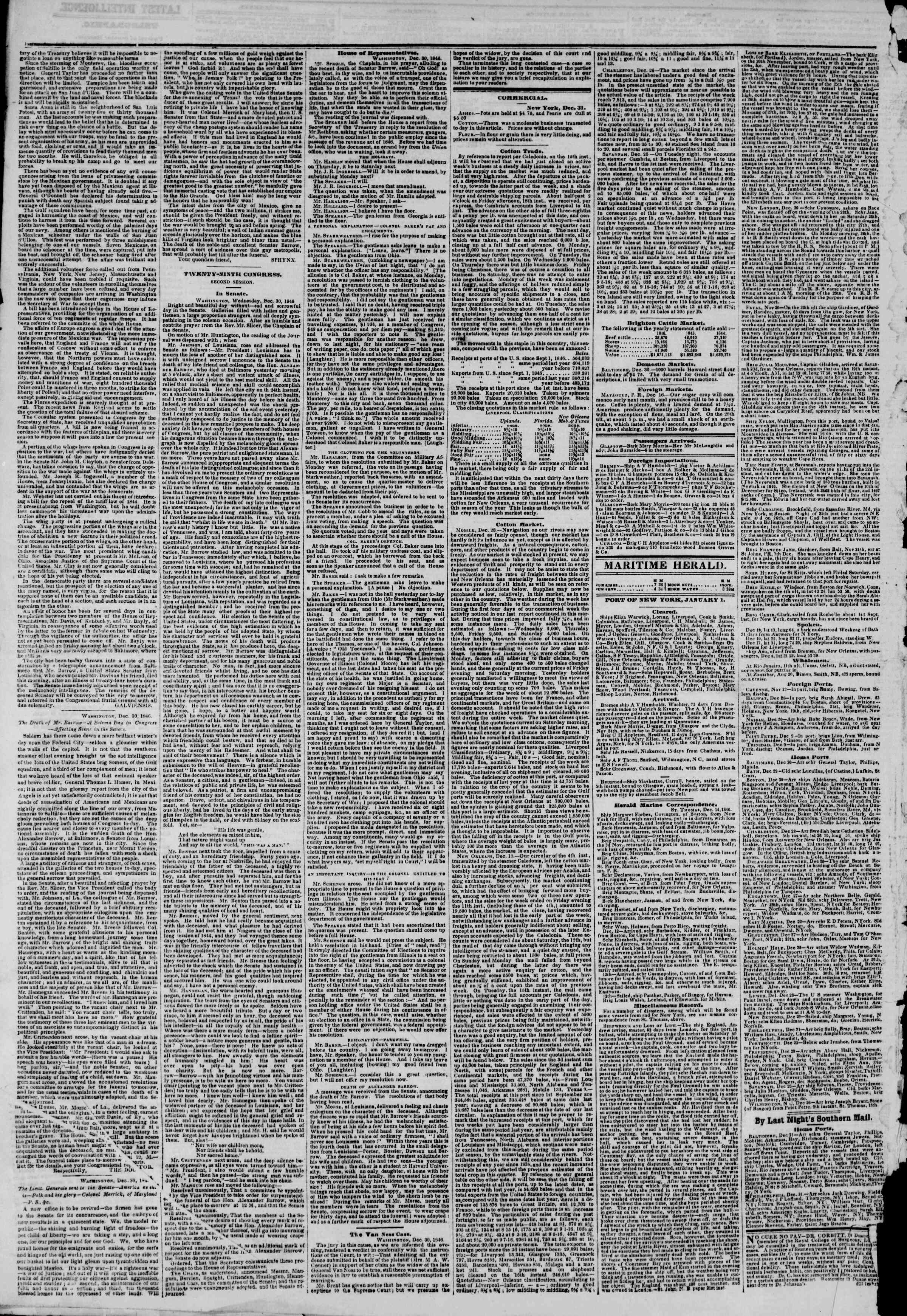 Newspaper of The New York Herald dated January 1, 1847 Page 4