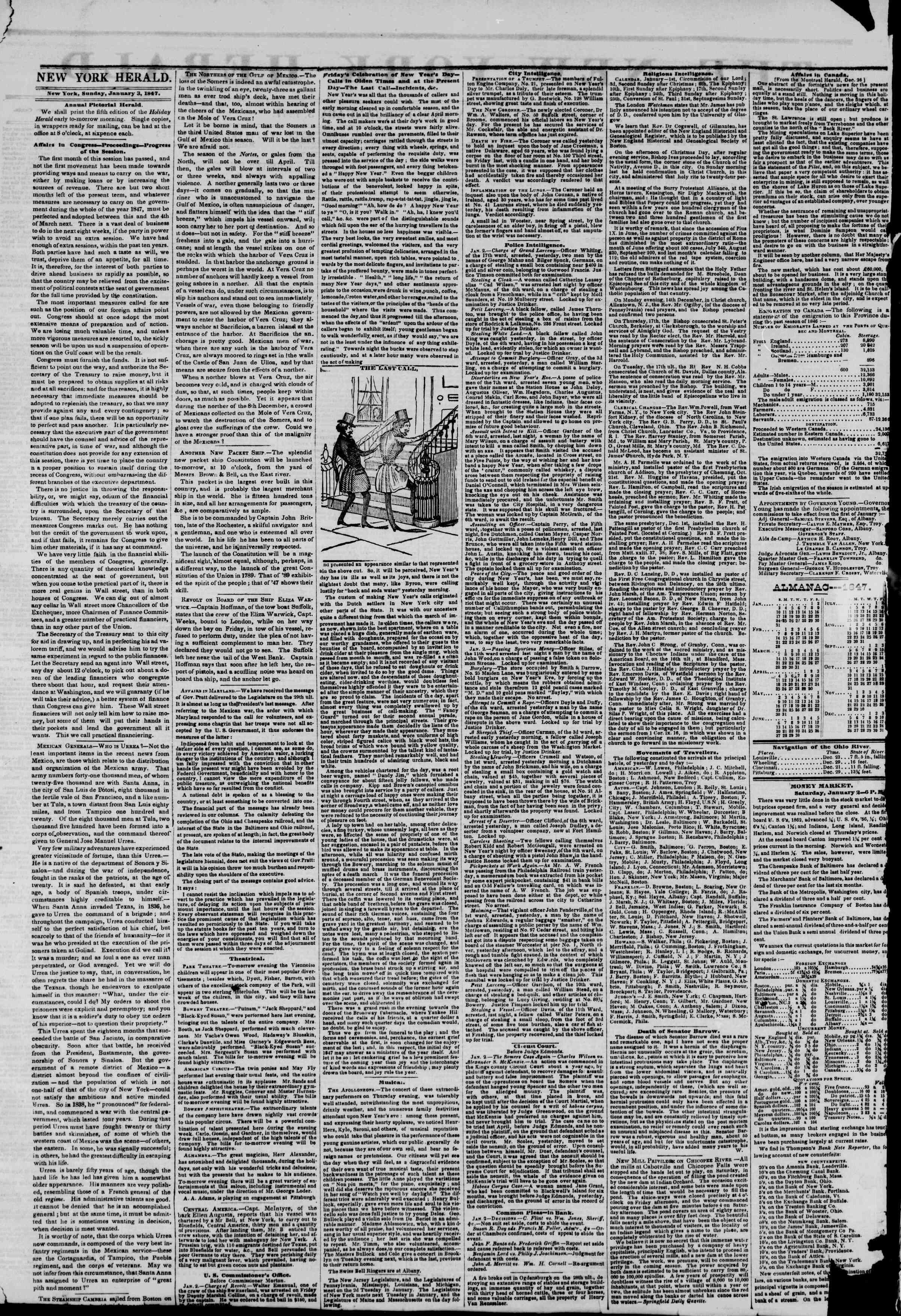 Newspaper of The New York Herald dated January 3, 1847 Page 2