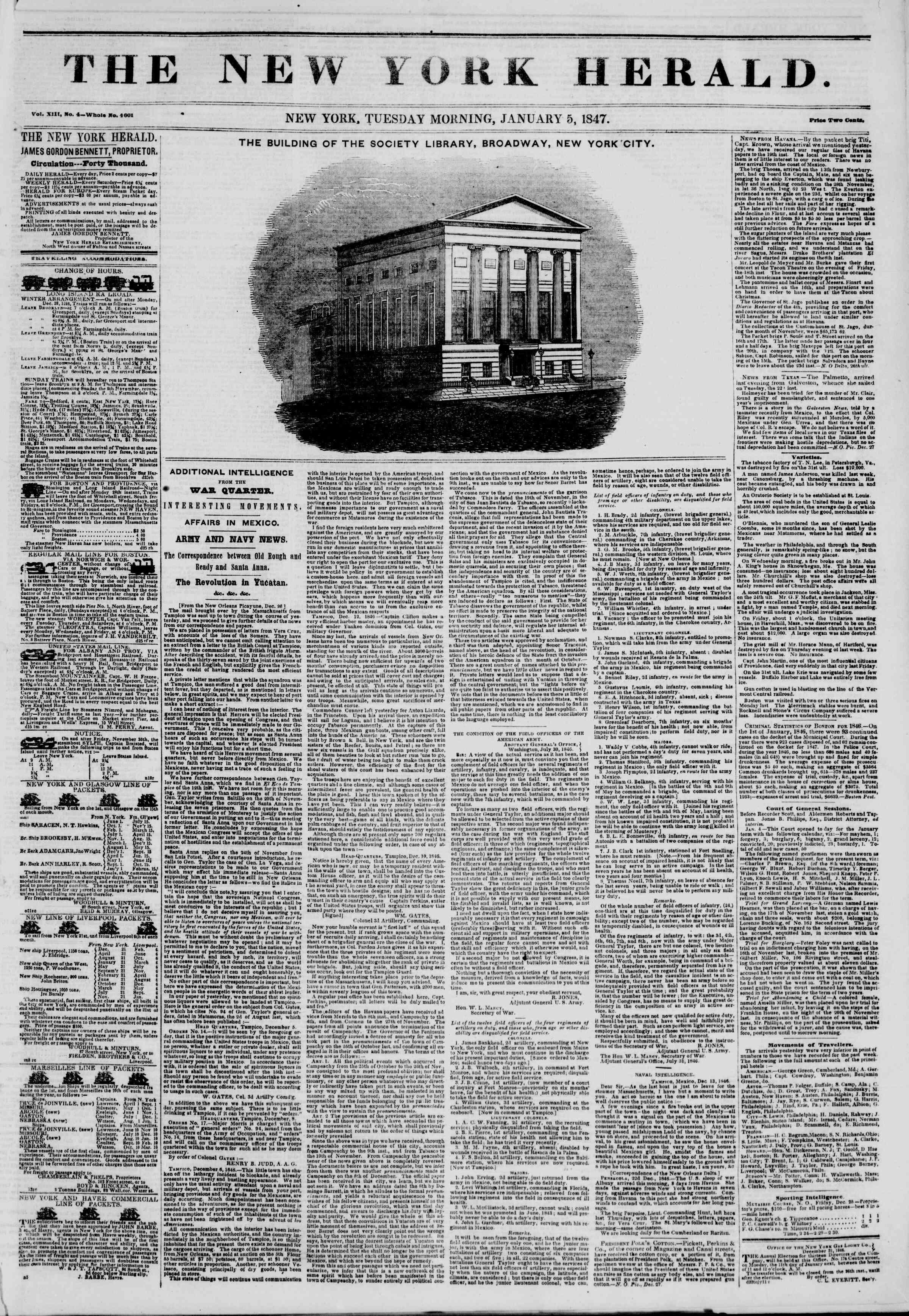5 Ocak 1847 tarihli The New York Herald Gazetesi Sayfa 1