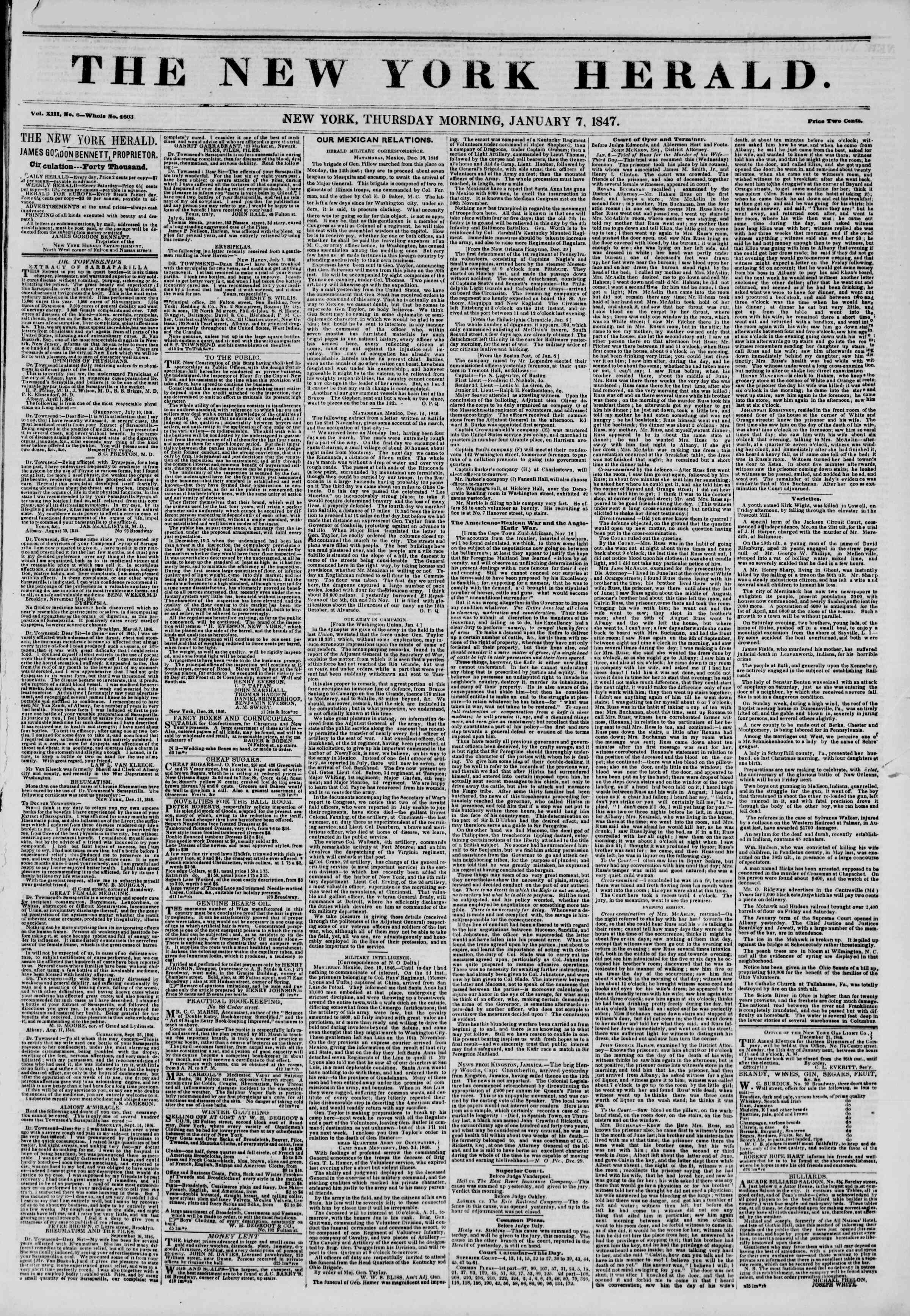 Newspaper of The New York Herald dated January 7, 1847 Page 1