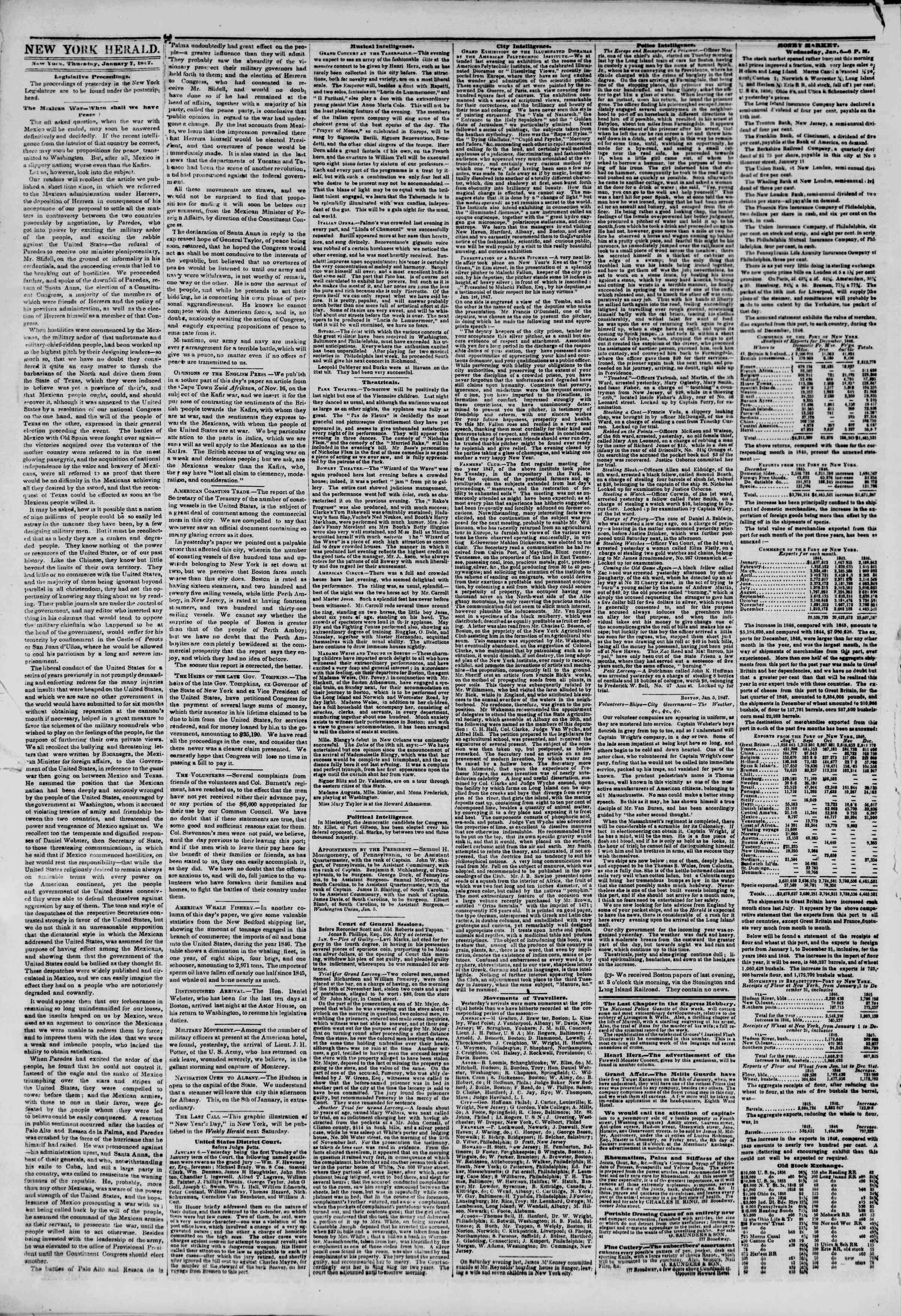 Newspaper of The New York Herald dated January 7, 1847 Page 2