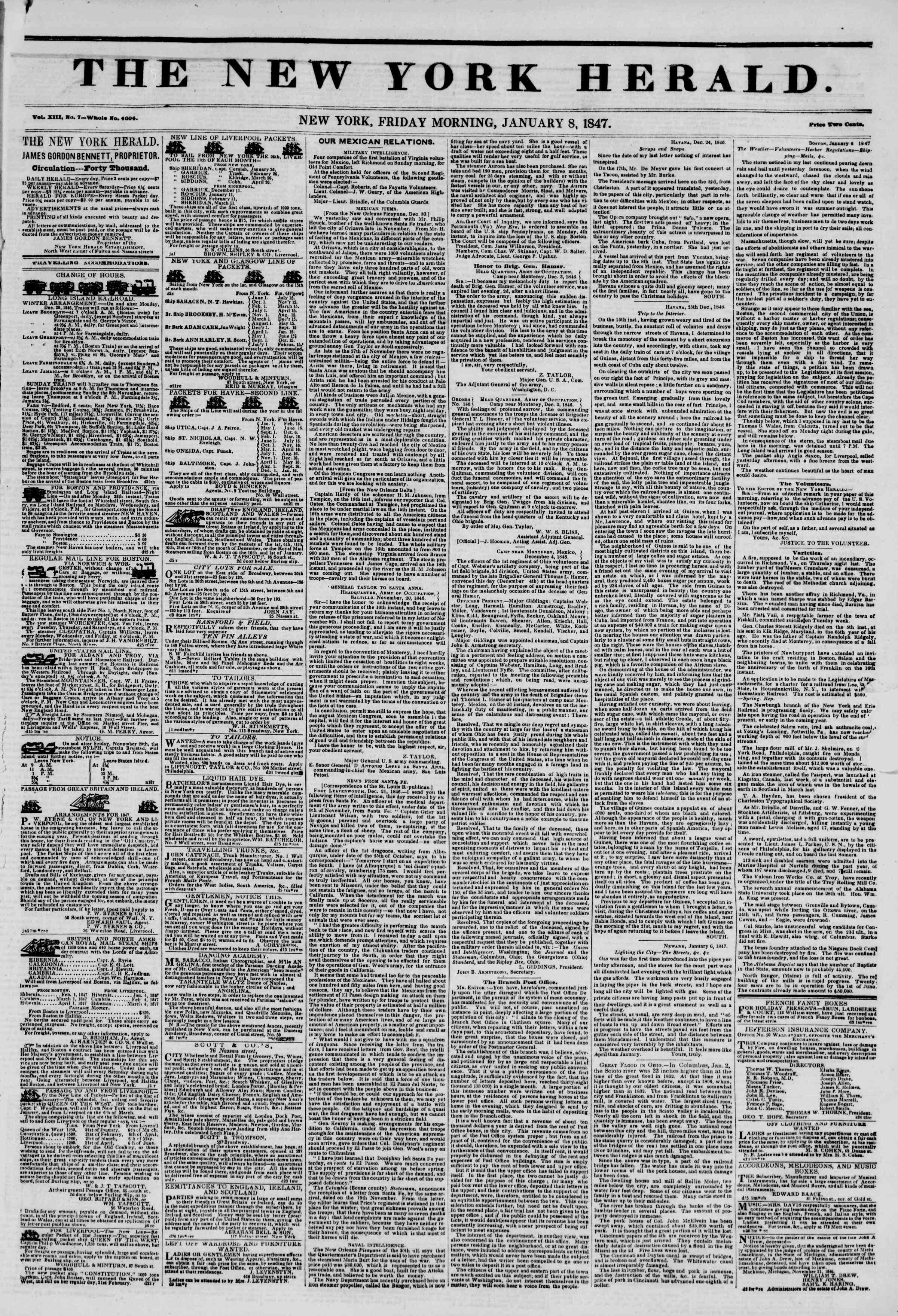 Newspaper of The New York Herald dated January 8, 1847 Page 1