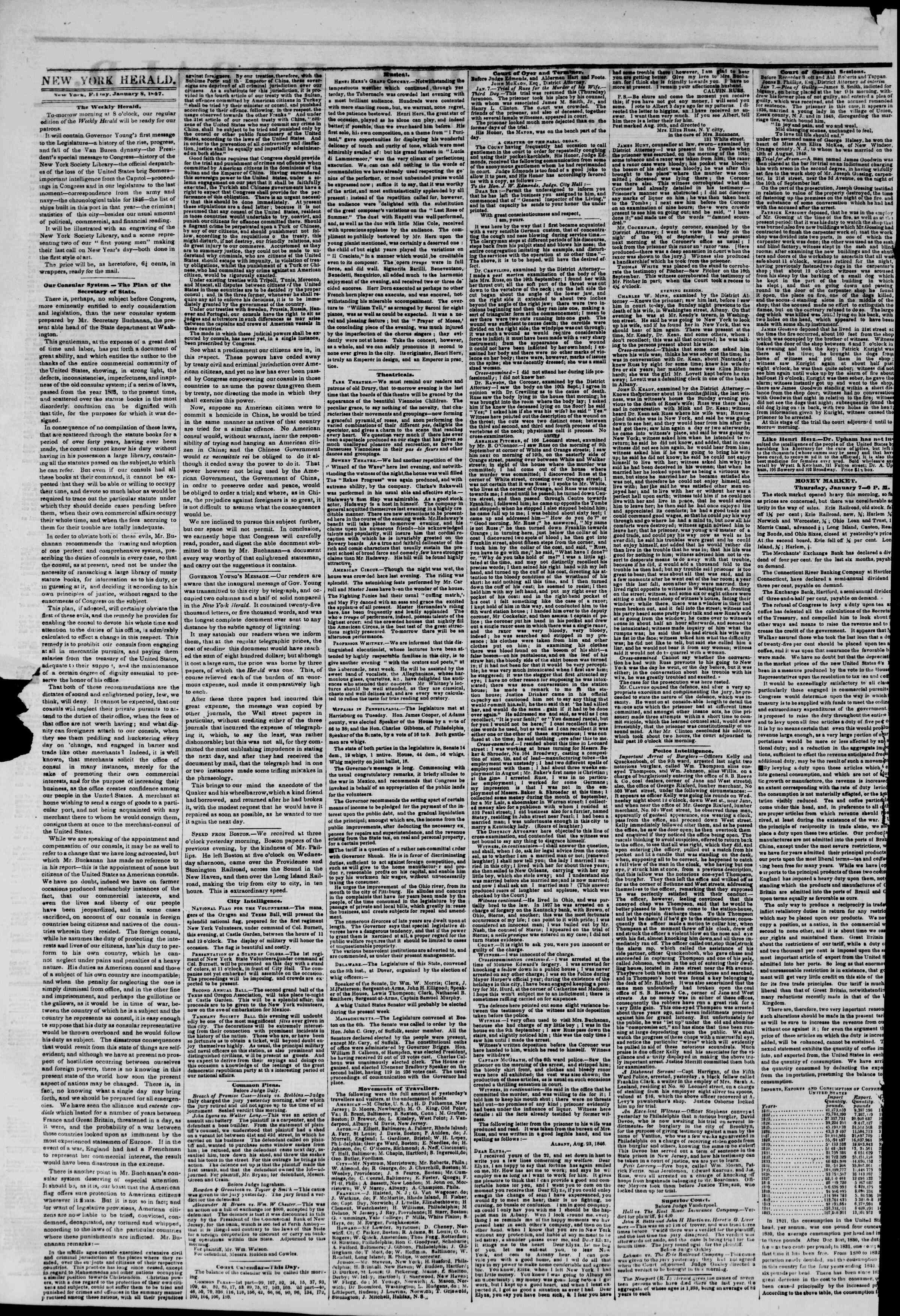 Newspaper of The New York Herald dated January 8, 1847 Page 2