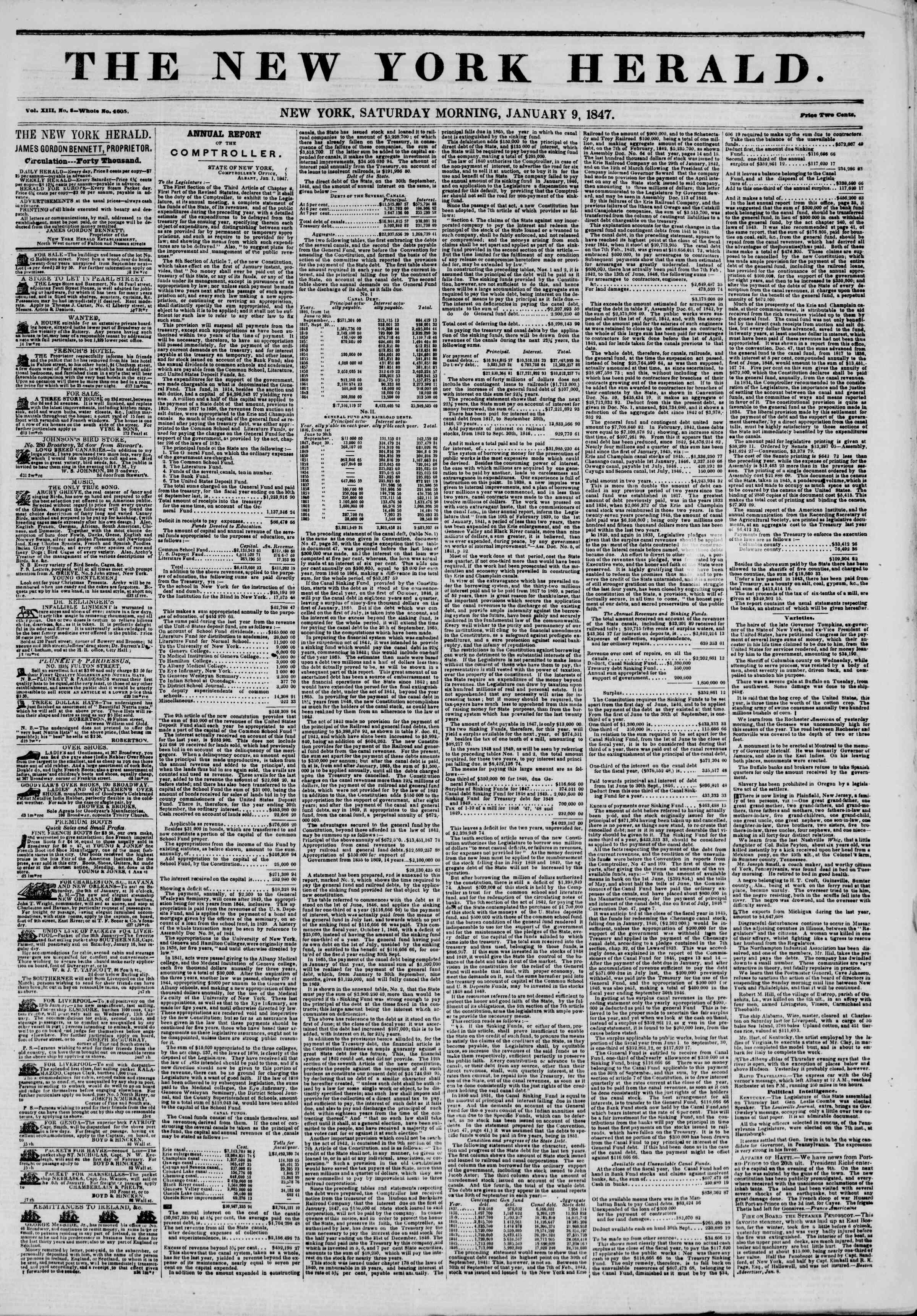 Newspaper of The New York Herald dated January 9, 1847 Page 1