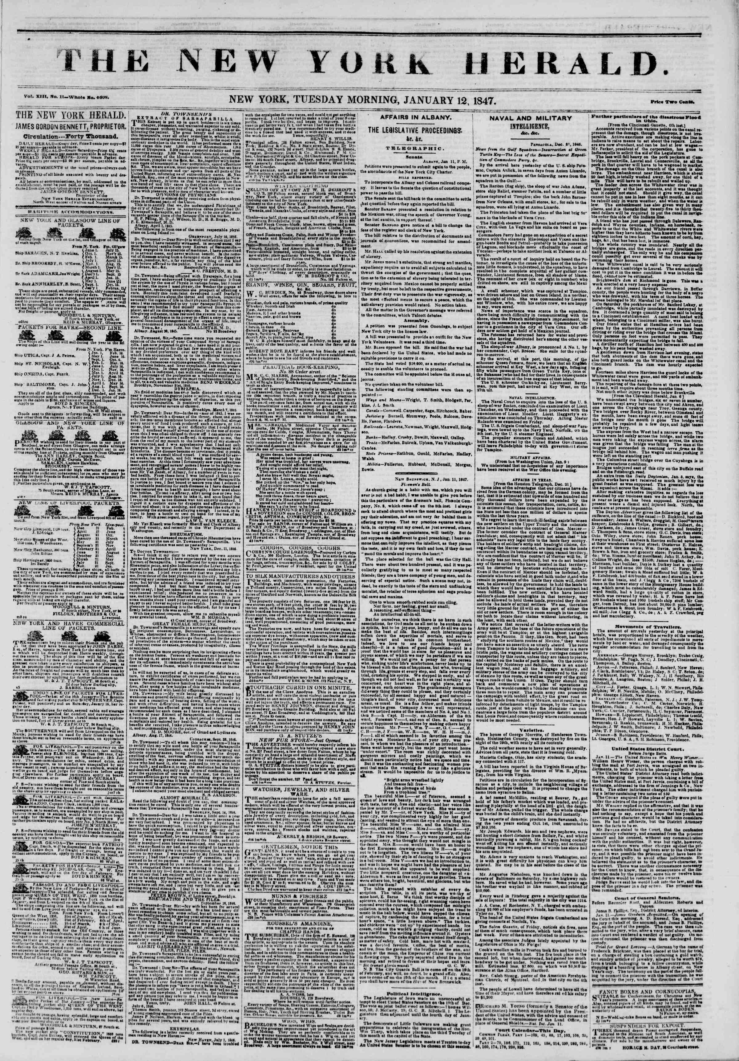 Newspaper of The New York Herald dated January 12, 1847 Page 1