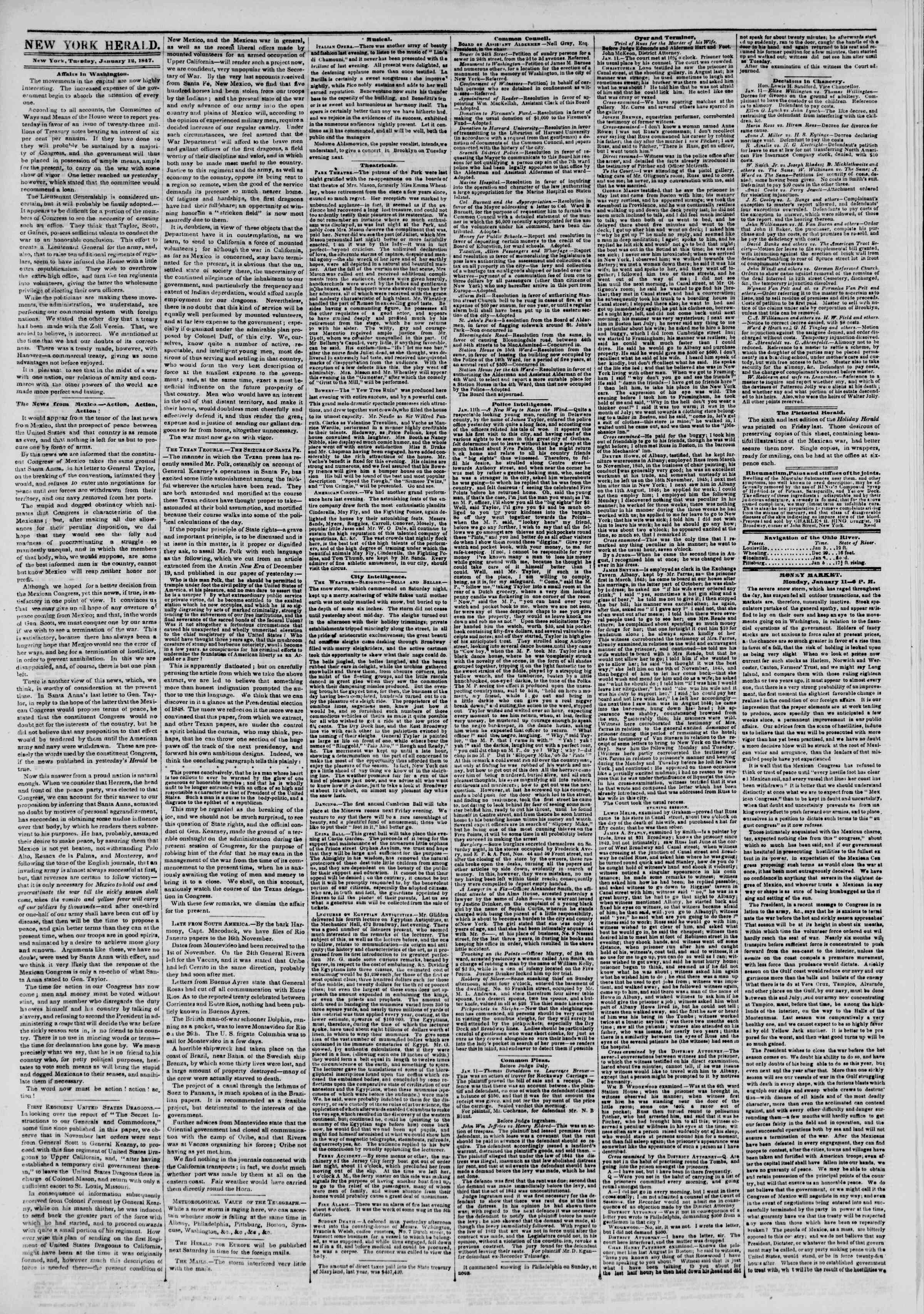 Newspaper of The New York Herald dated January 12, 1847 Page 2