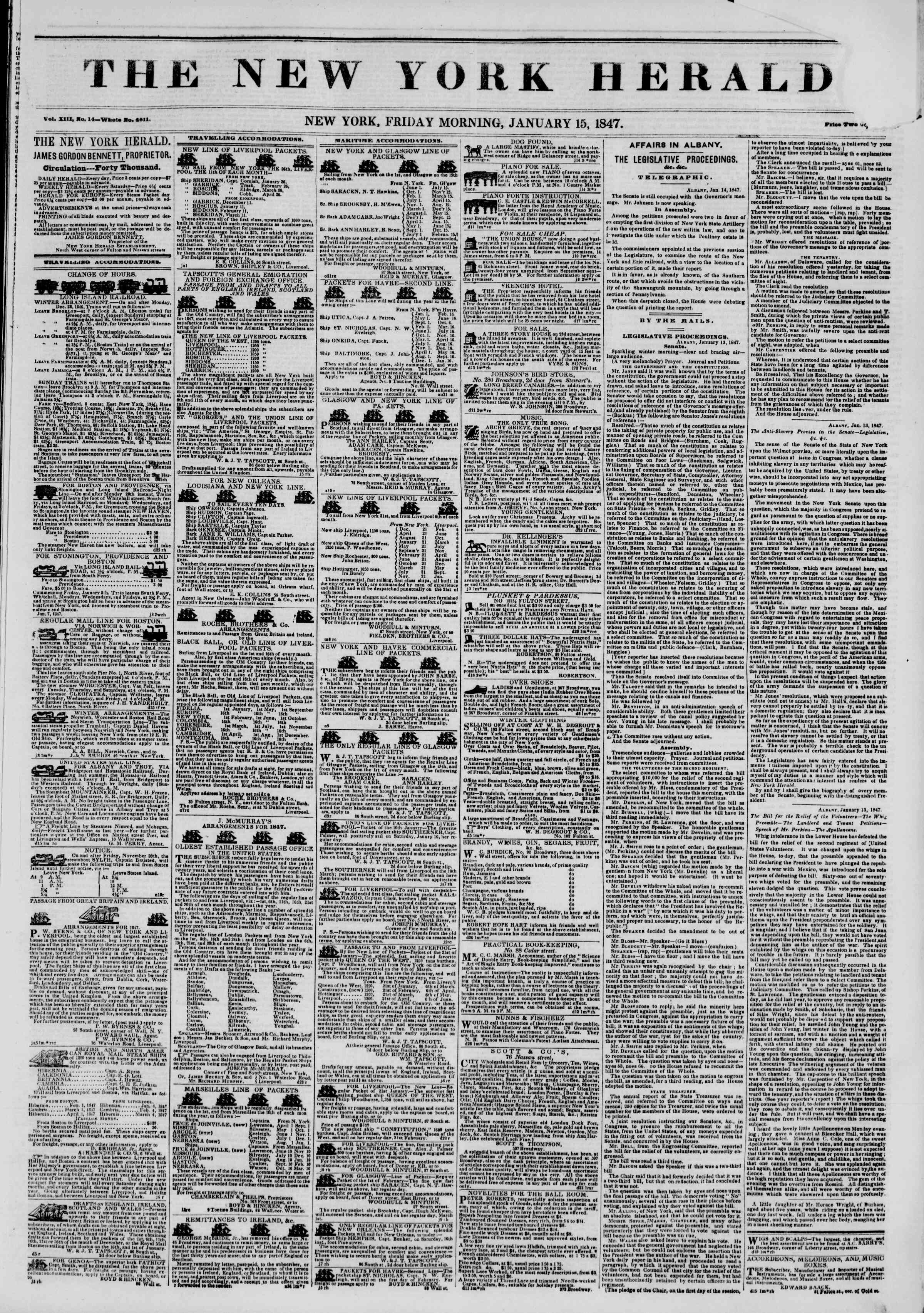 Newspaper of The New York Herald dated January 15, 1847 Page 1
