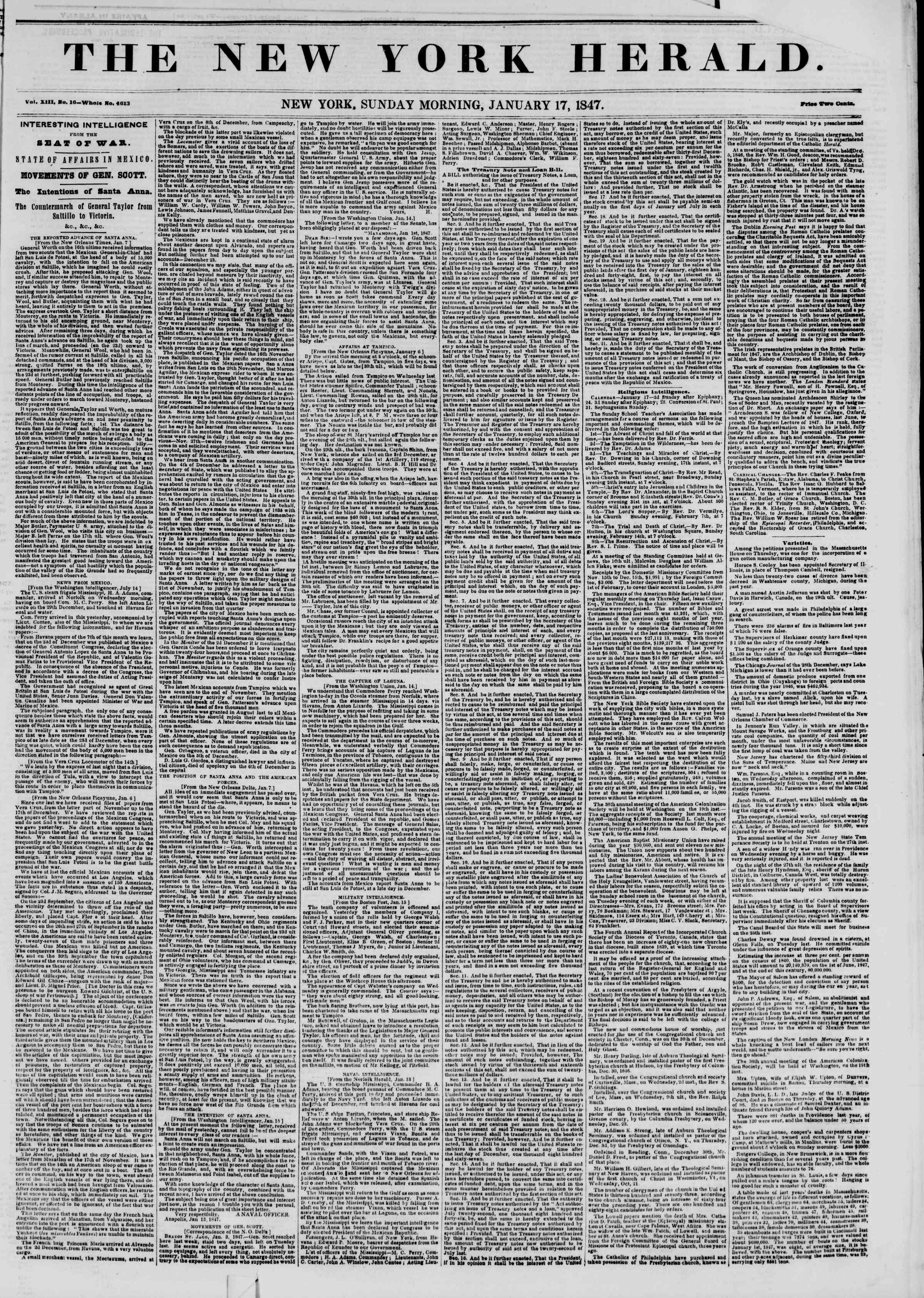 Newspaper of The New York Herald dated January 17, 1847 Page 1