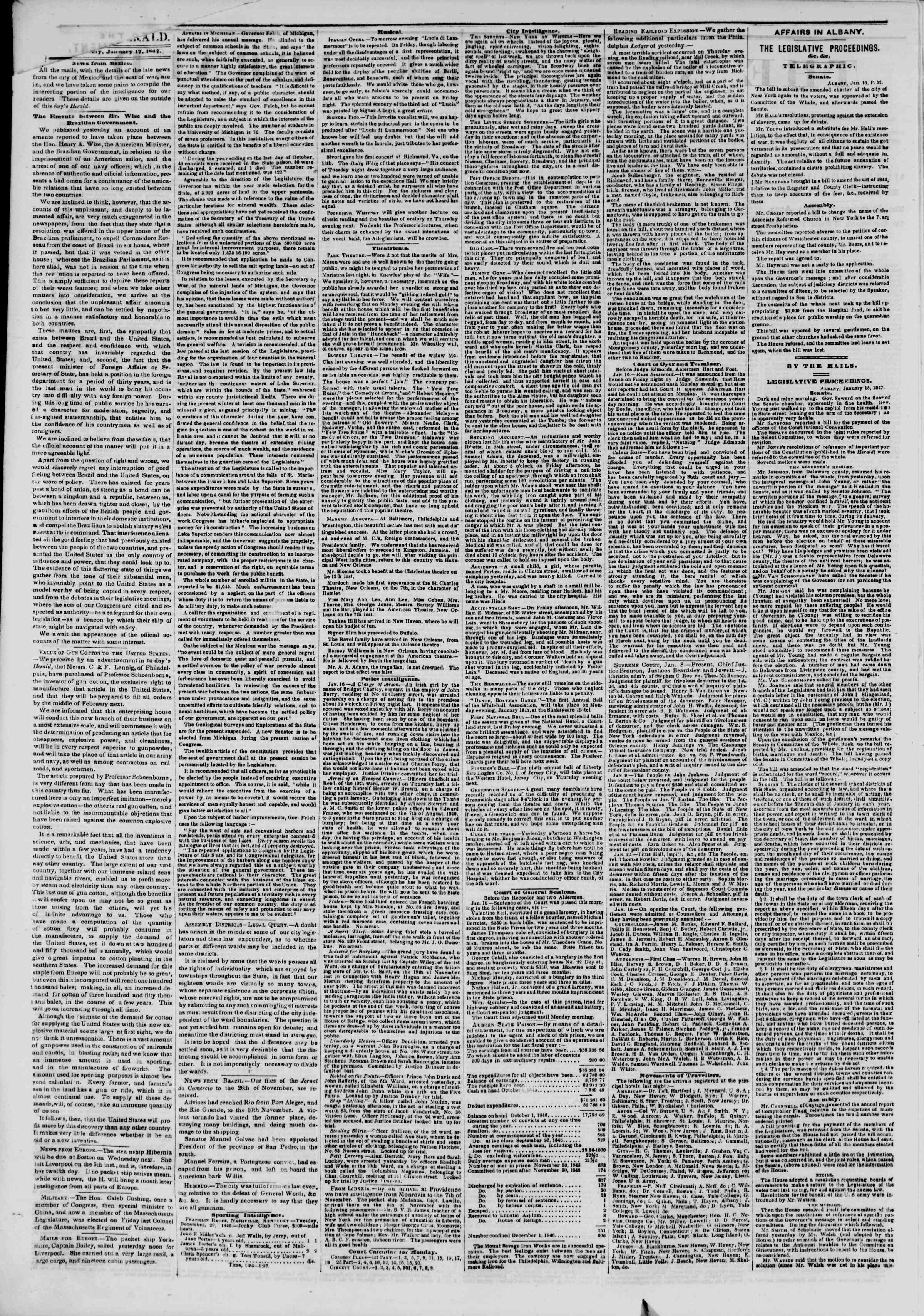 Newspaper of The New York Herald dated January 17, 1847 Page 2