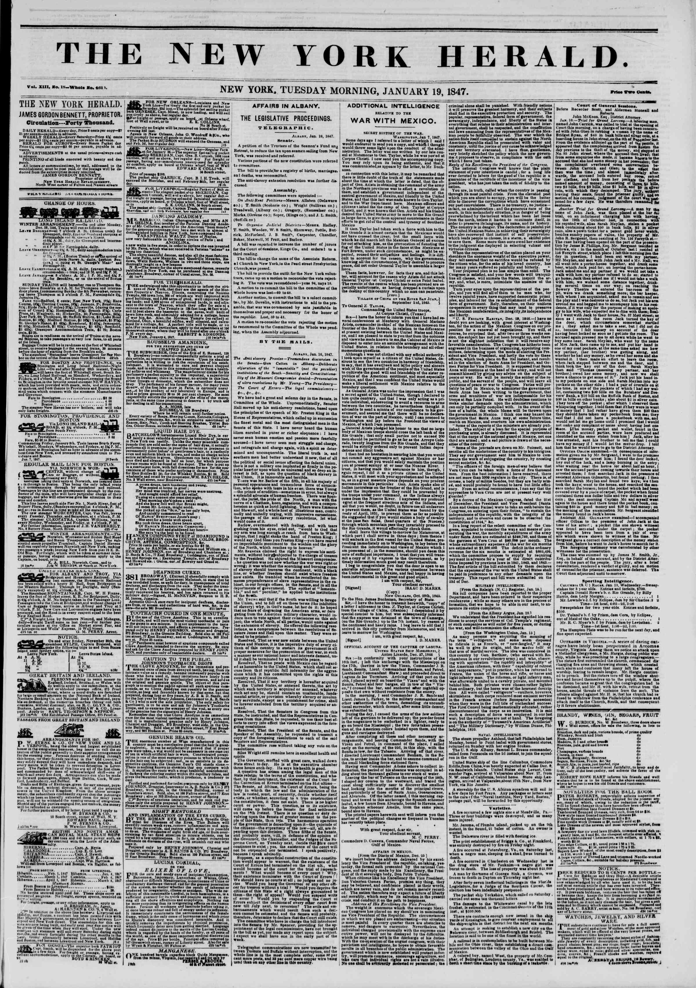 Newspaper of The New York Herald dated January 19, 1847 Page 1