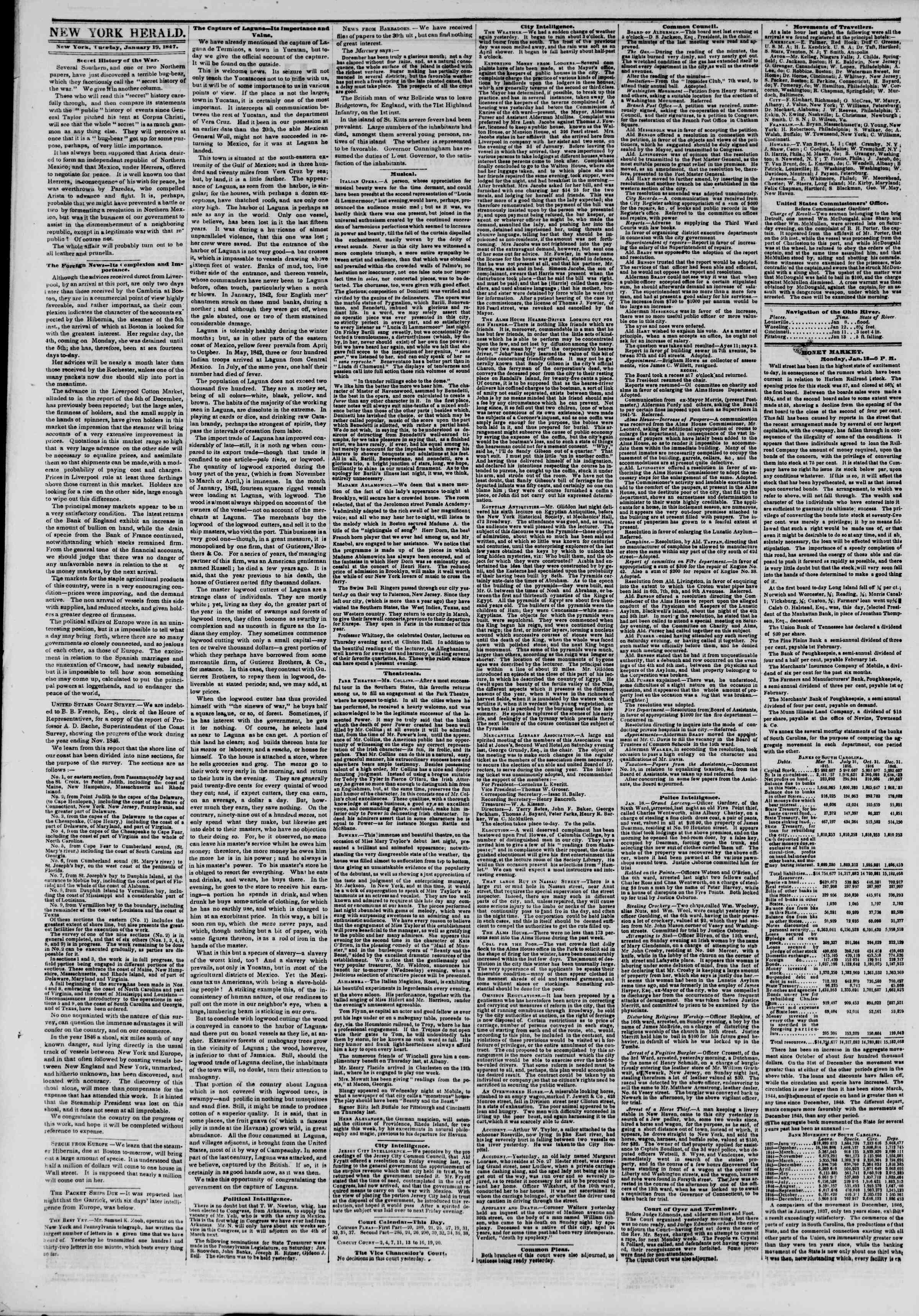 Newspaper of The New York Herald dated January 19, 1847 Page 2