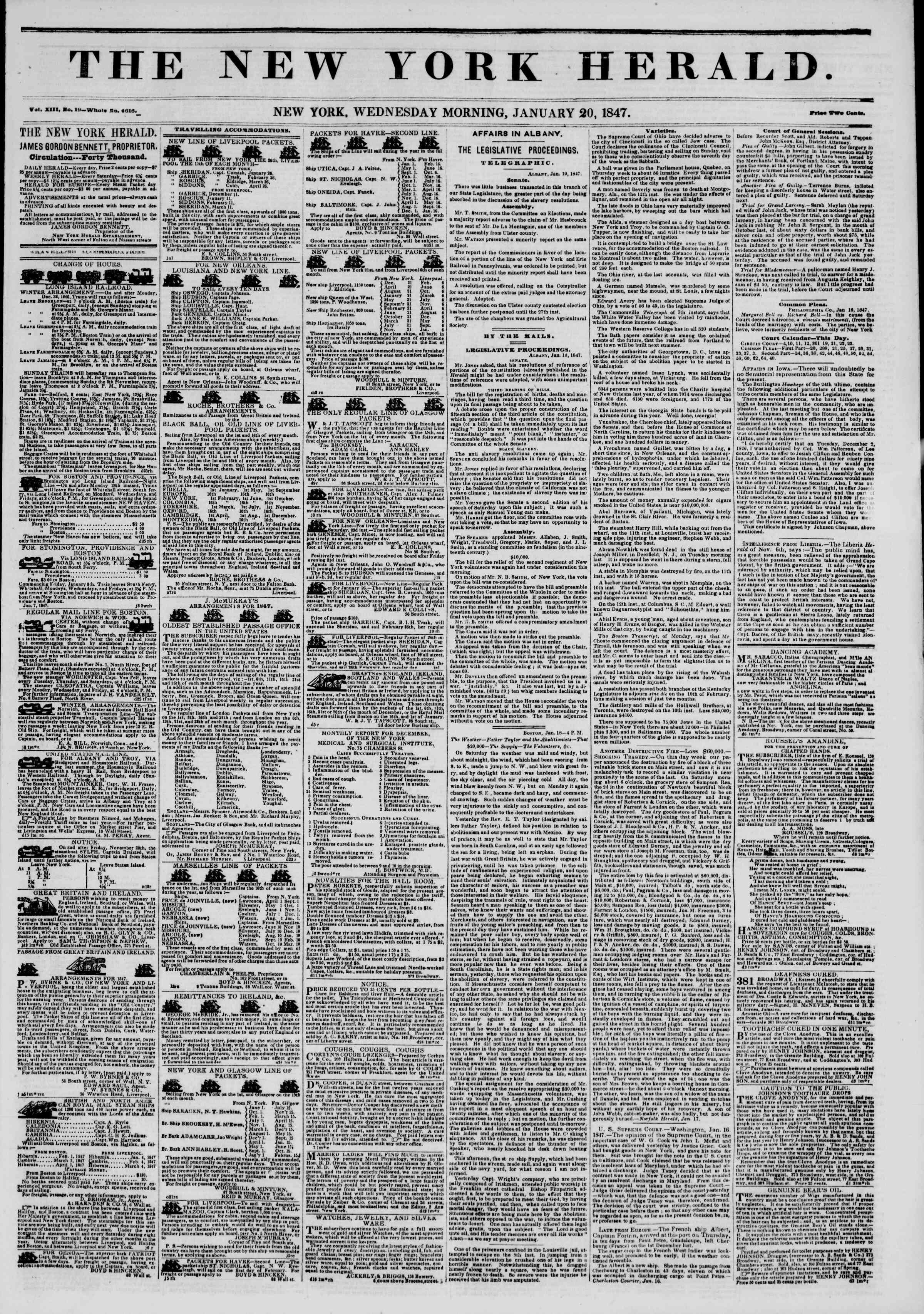Newspaper of The New York Herald dated January 20, 1847 Page 1