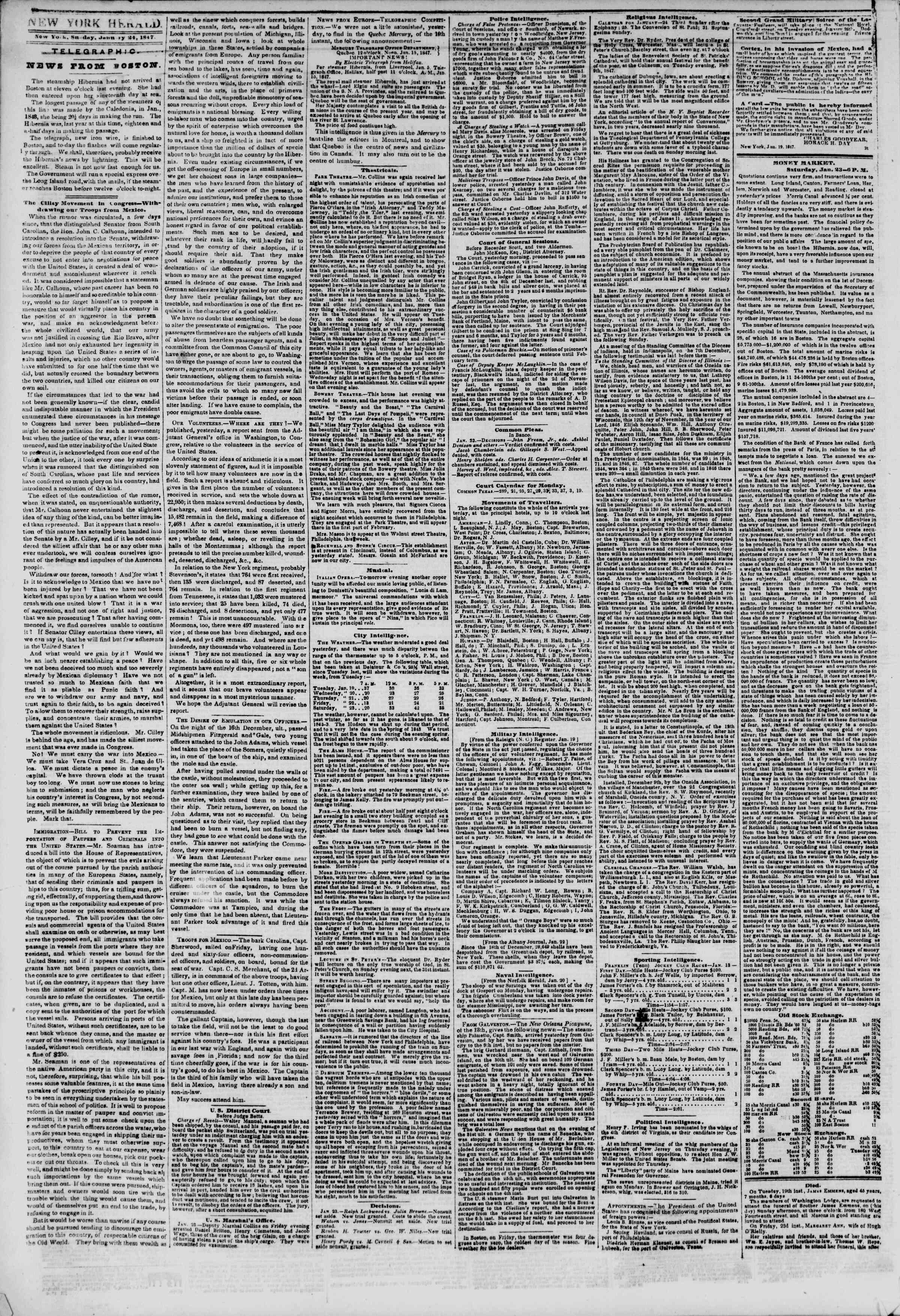 Newspaper of The New York Herald dated January 24, 1847 Page 2