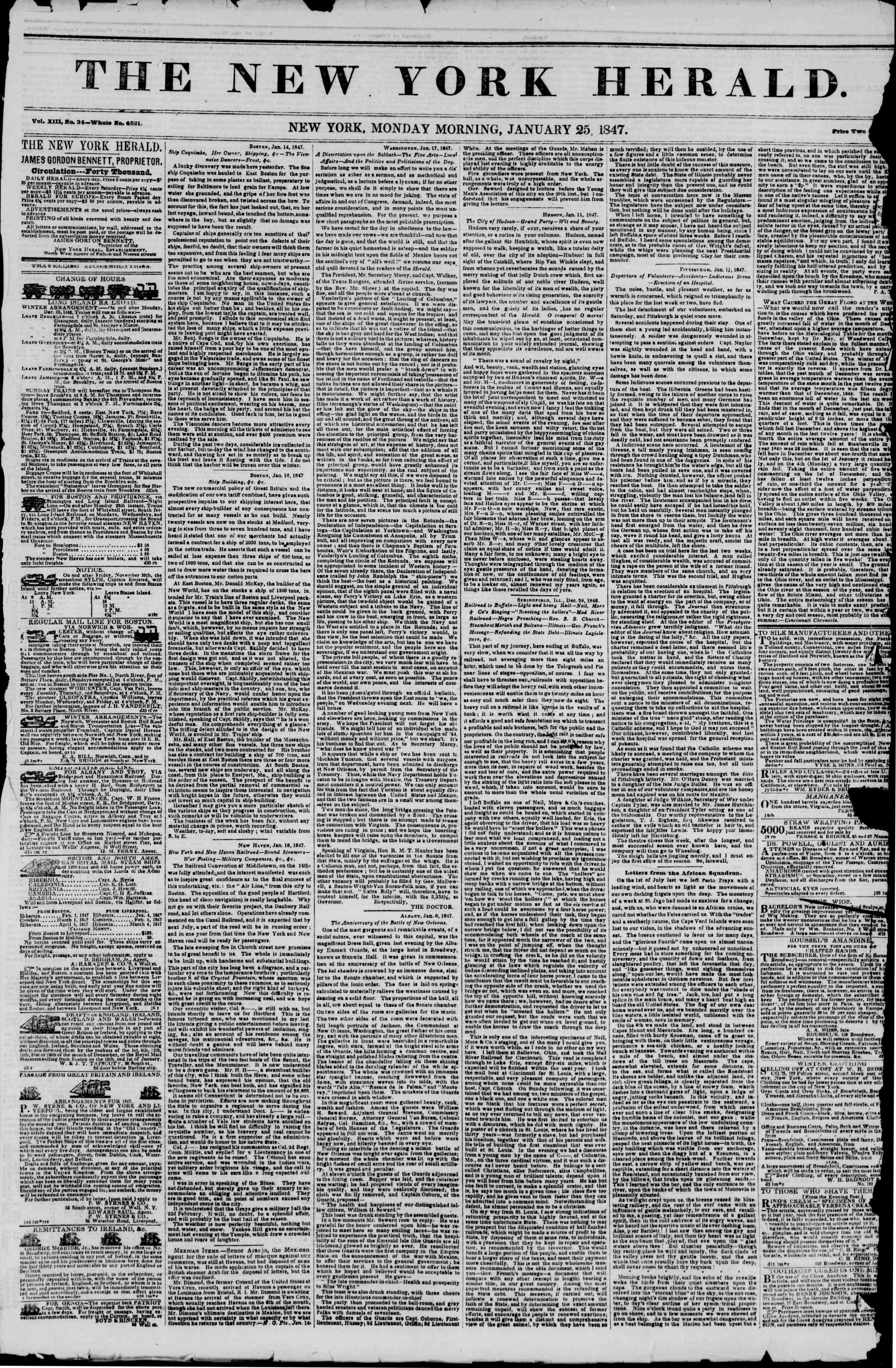 Newspaper of The New York Herald dated January 25, 1847 Page 1