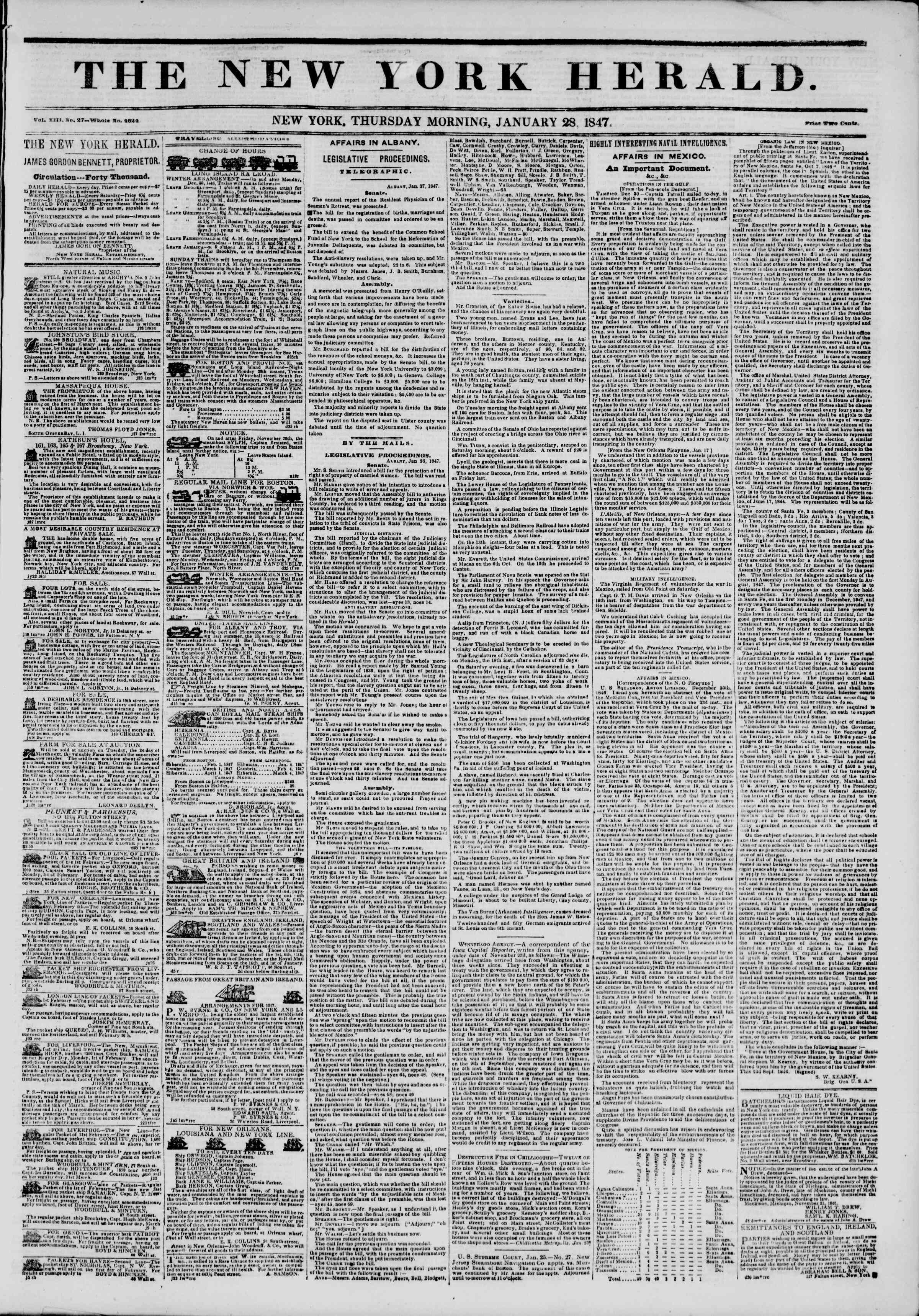 Newspaper of The New York Herald dated January 28, 1847 Page 1