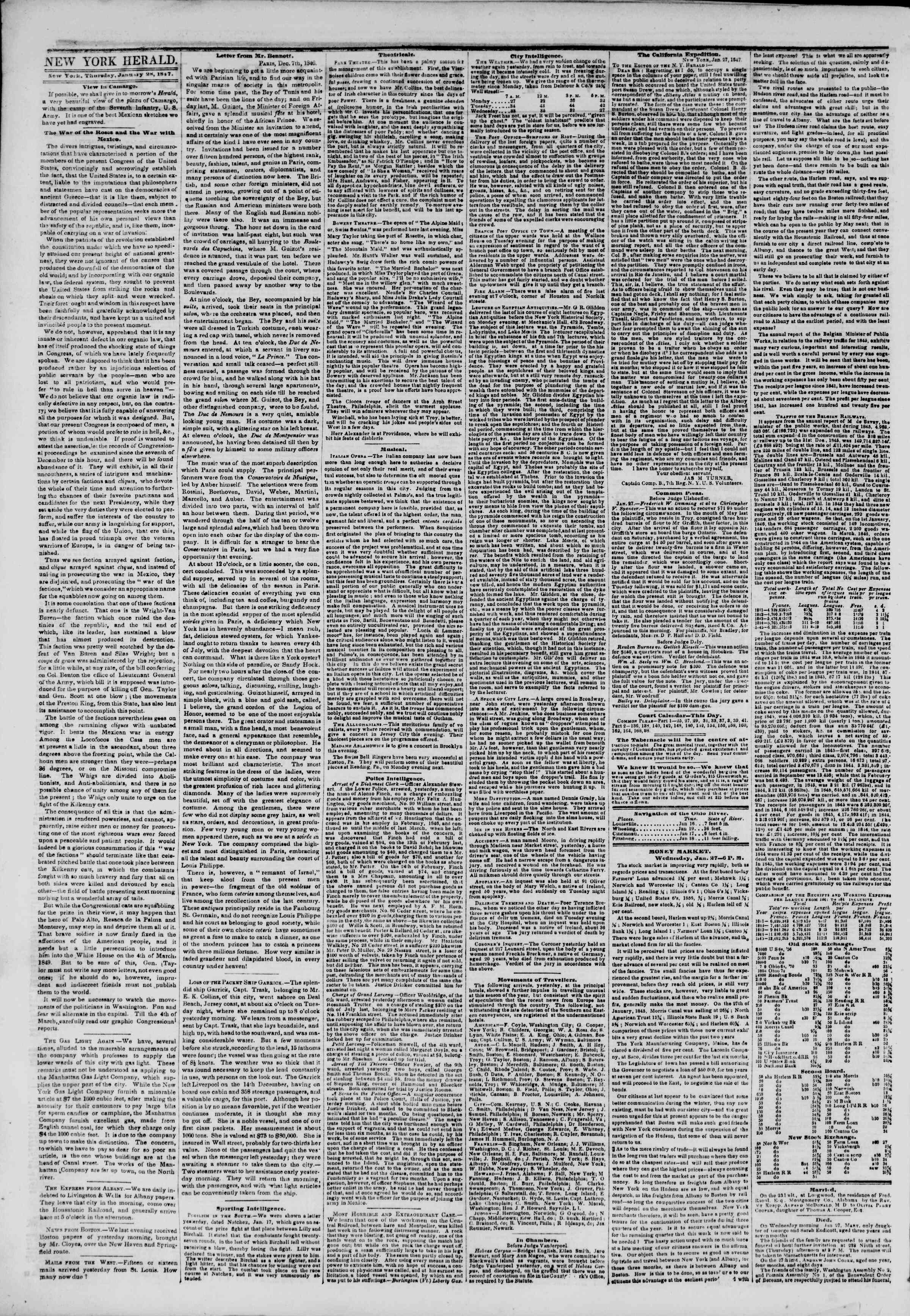 Newspaper of The New York Herald dated January 28, 1847 Page 2