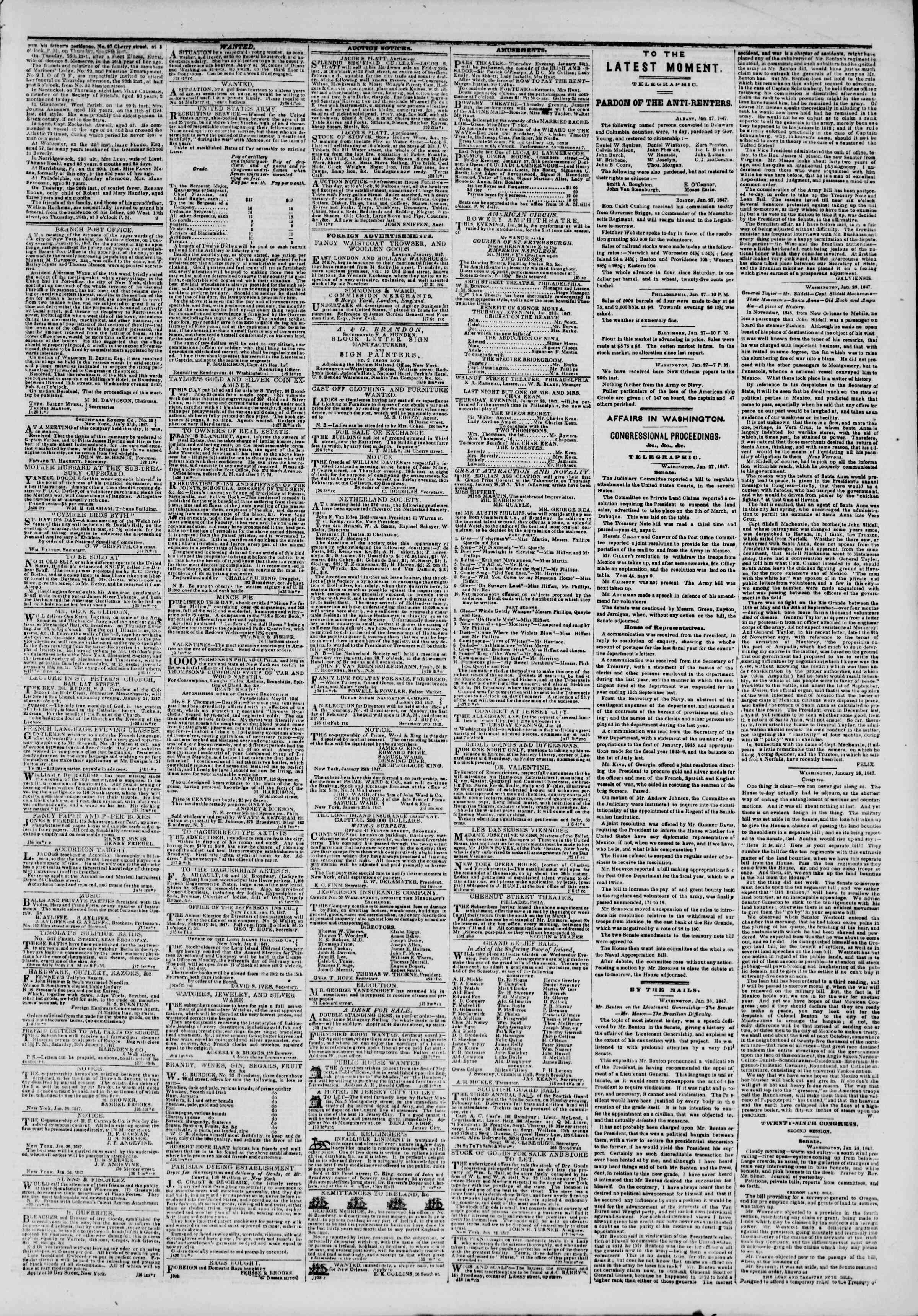 Newspaper of The New York Herald dated January 28, 1847 Page 3