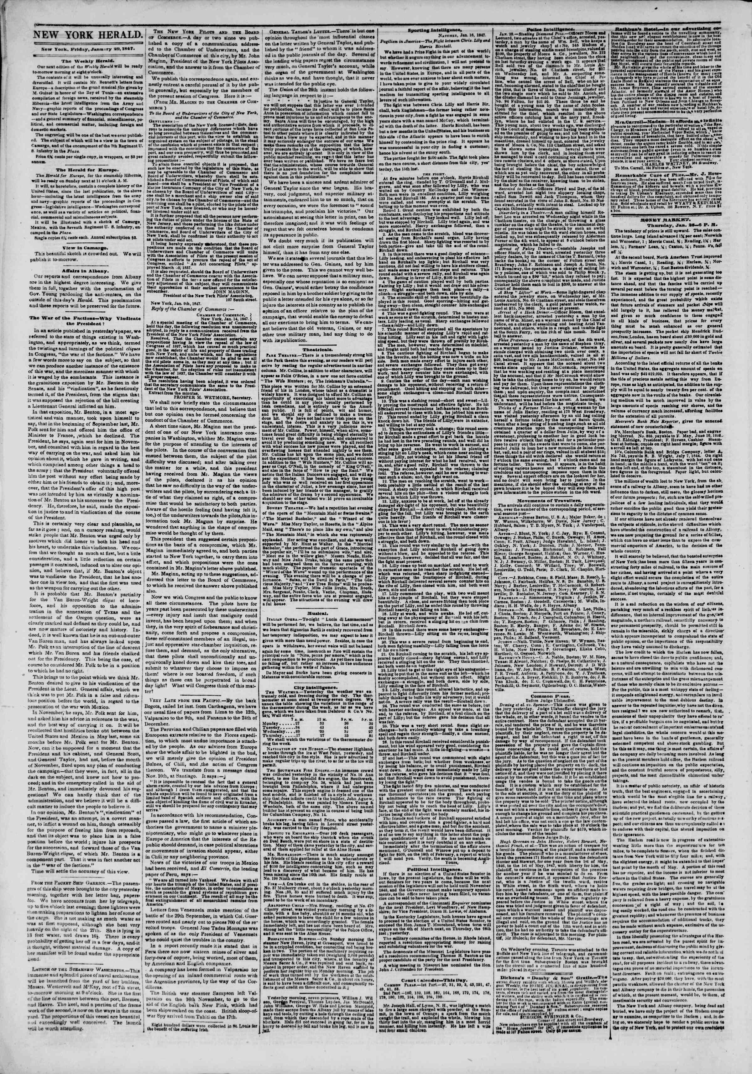 Newspaper of The New York Herald dated January 29, 1847 Page 2