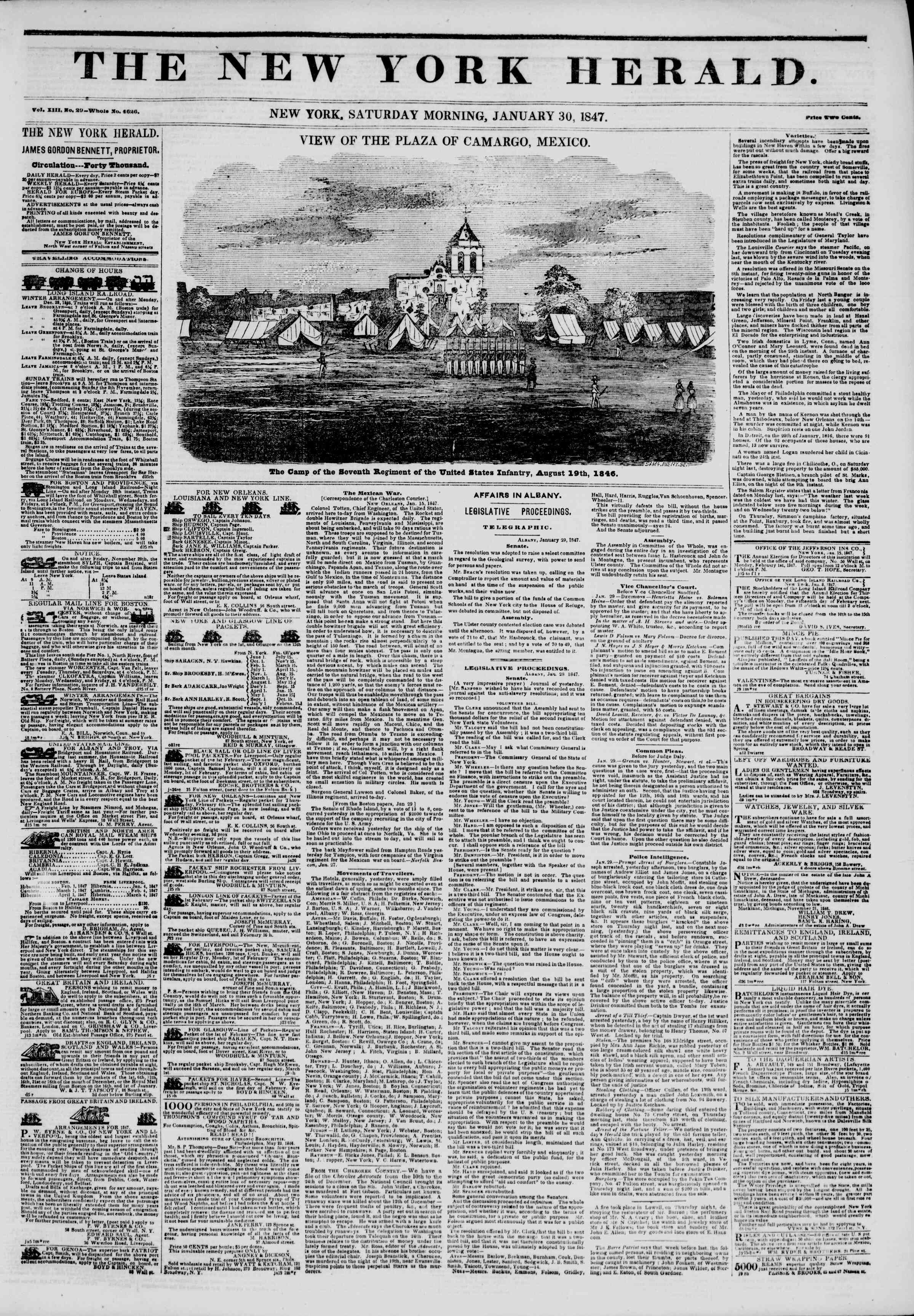 Newspaper of The New York Herald dated January 30, 1847 Page 1