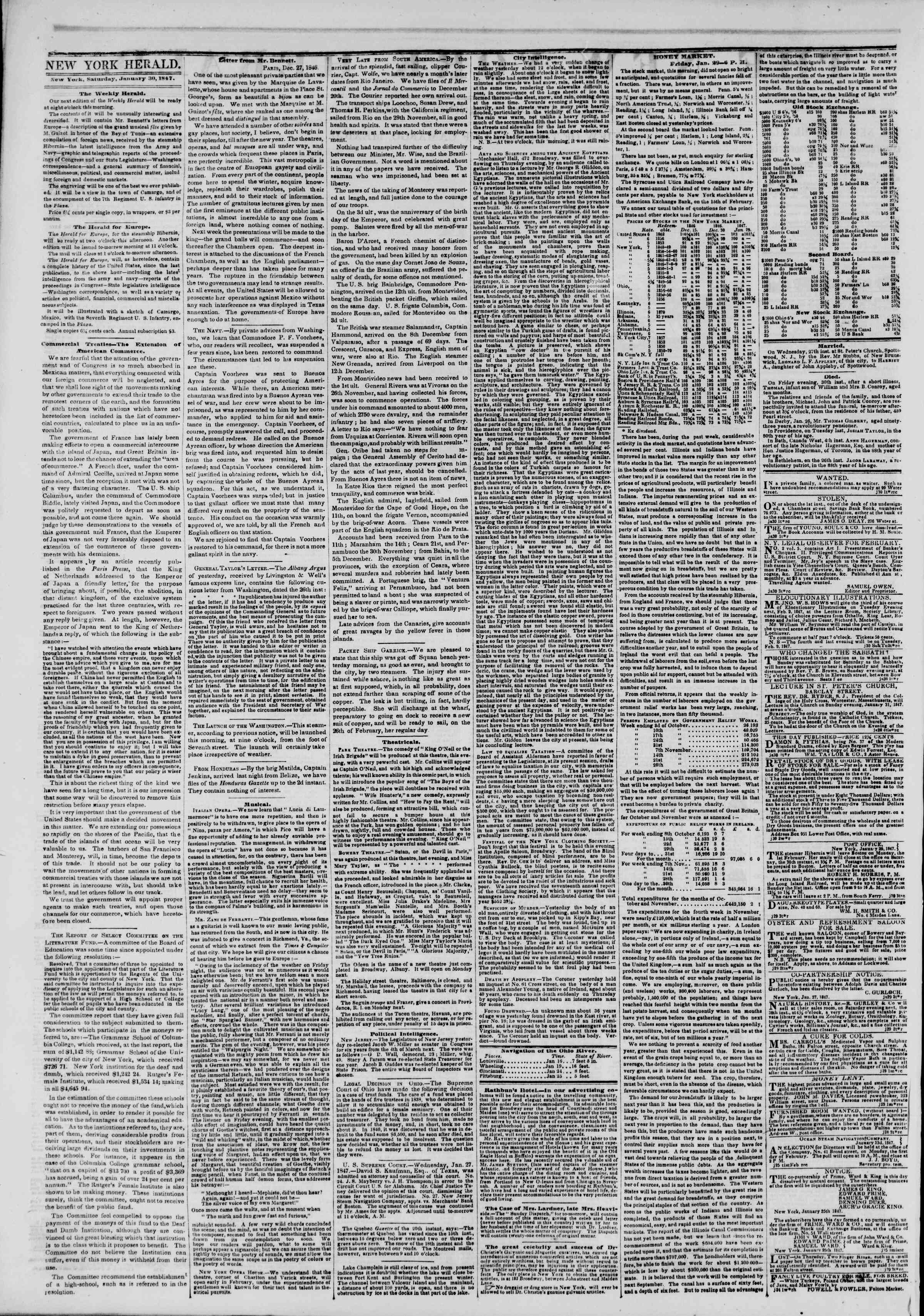 Newspaper of The New York Herald dated January 30, 1847 Page 2