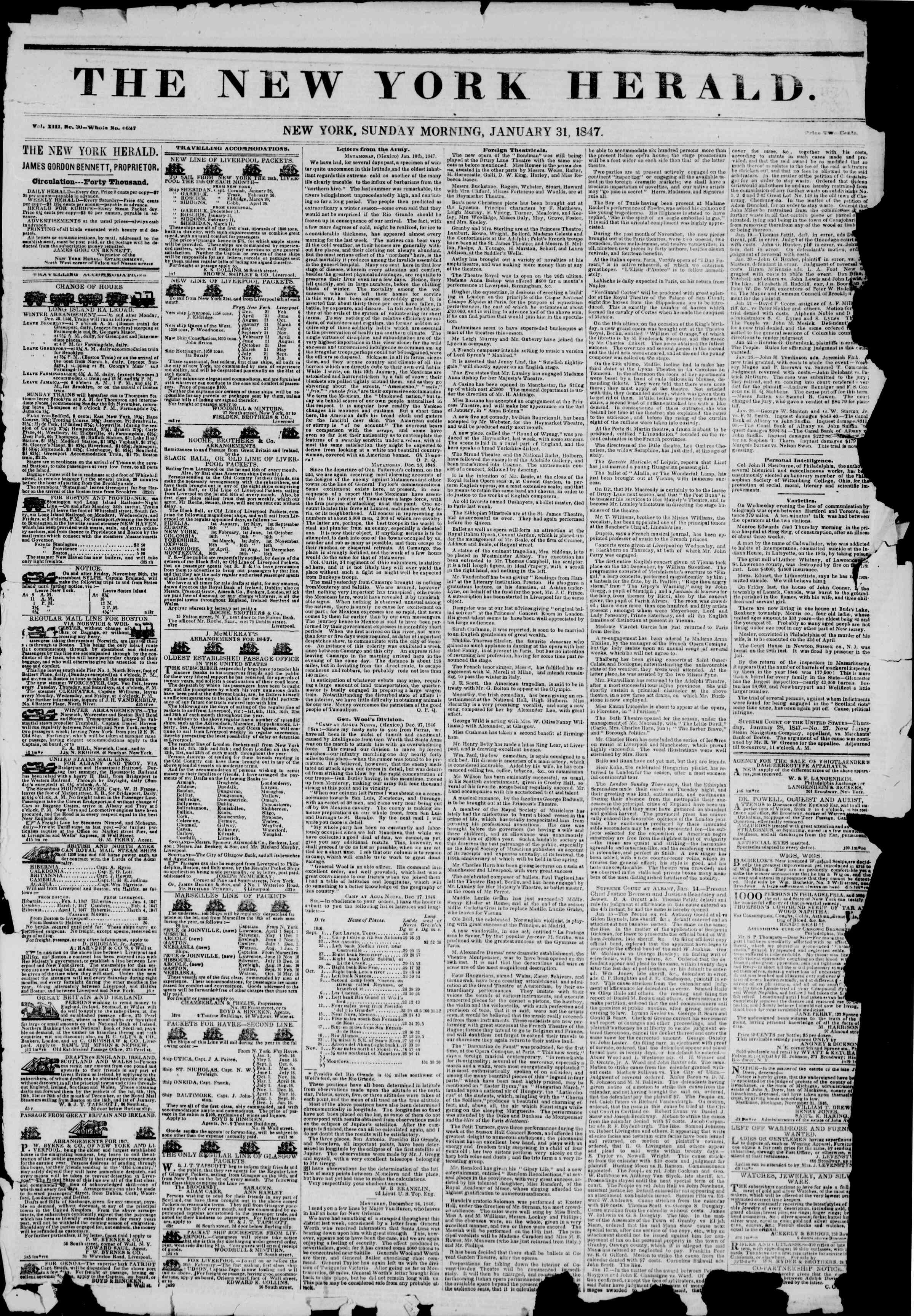 Newspaper of The New York Herald dated January 31, 1847 Page 1