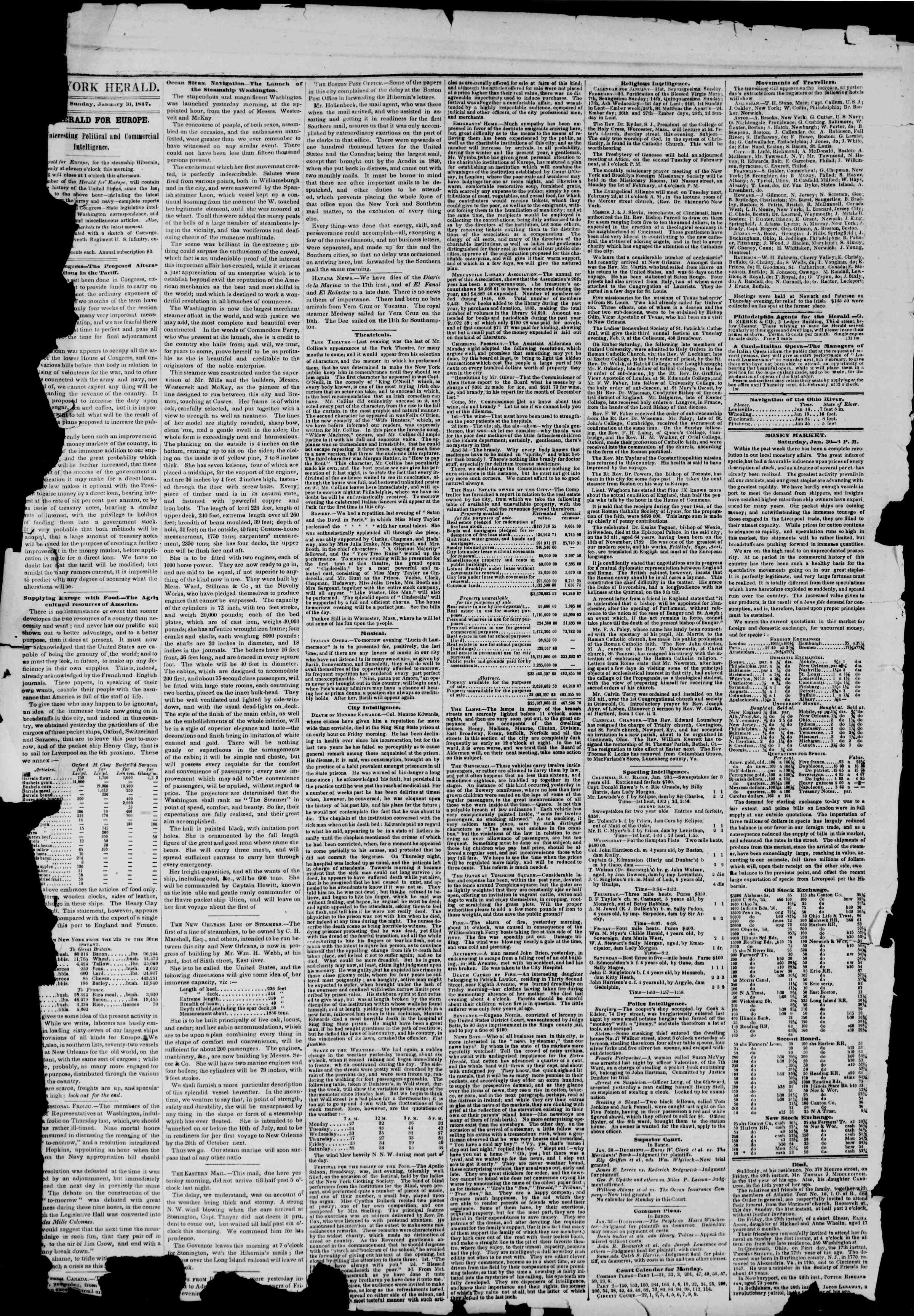 Newspaper of The New York Herald dated January 31, 1847 Page 2