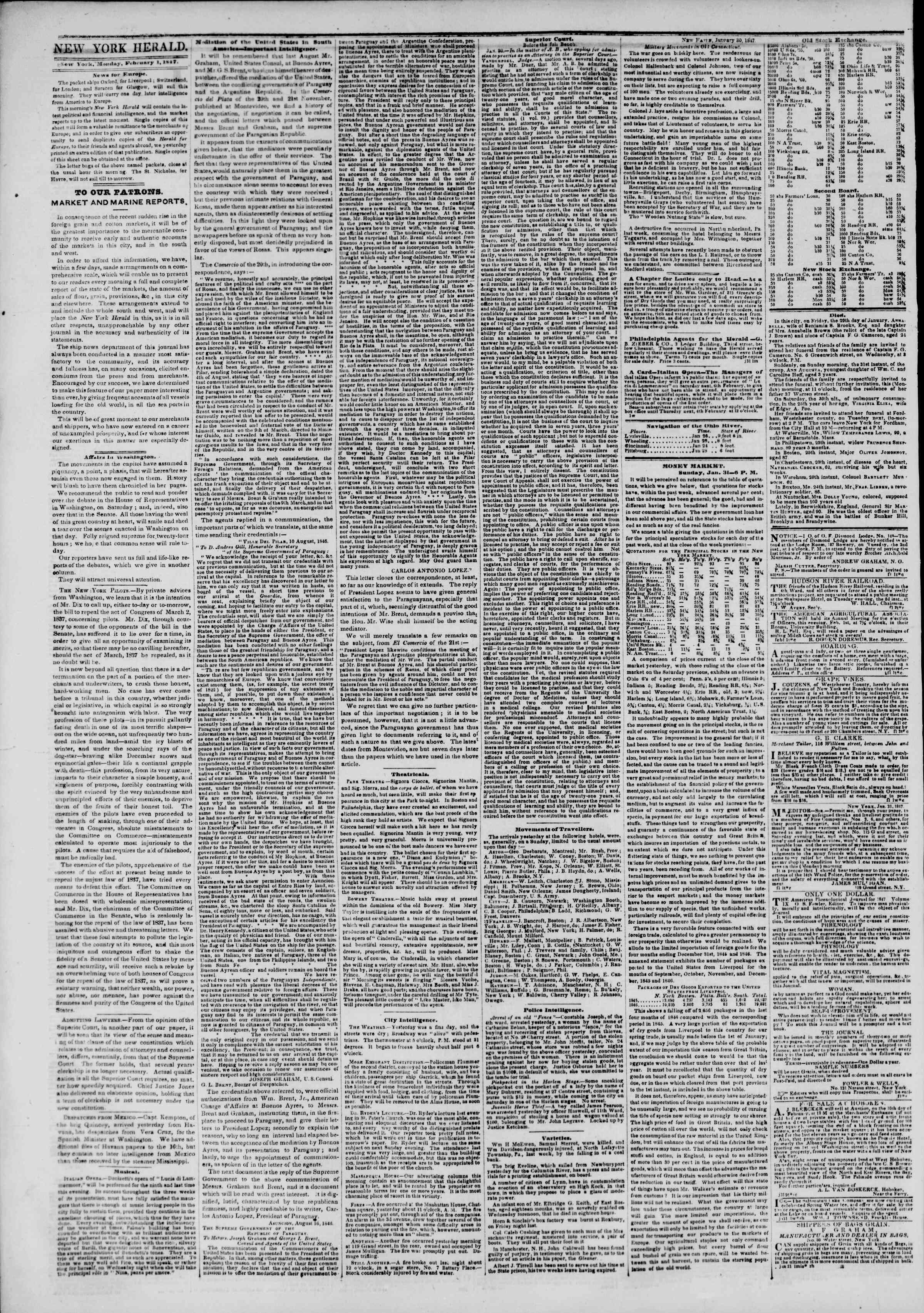 Newspaper of The New York Herald dated February 1, 1847 Page 2