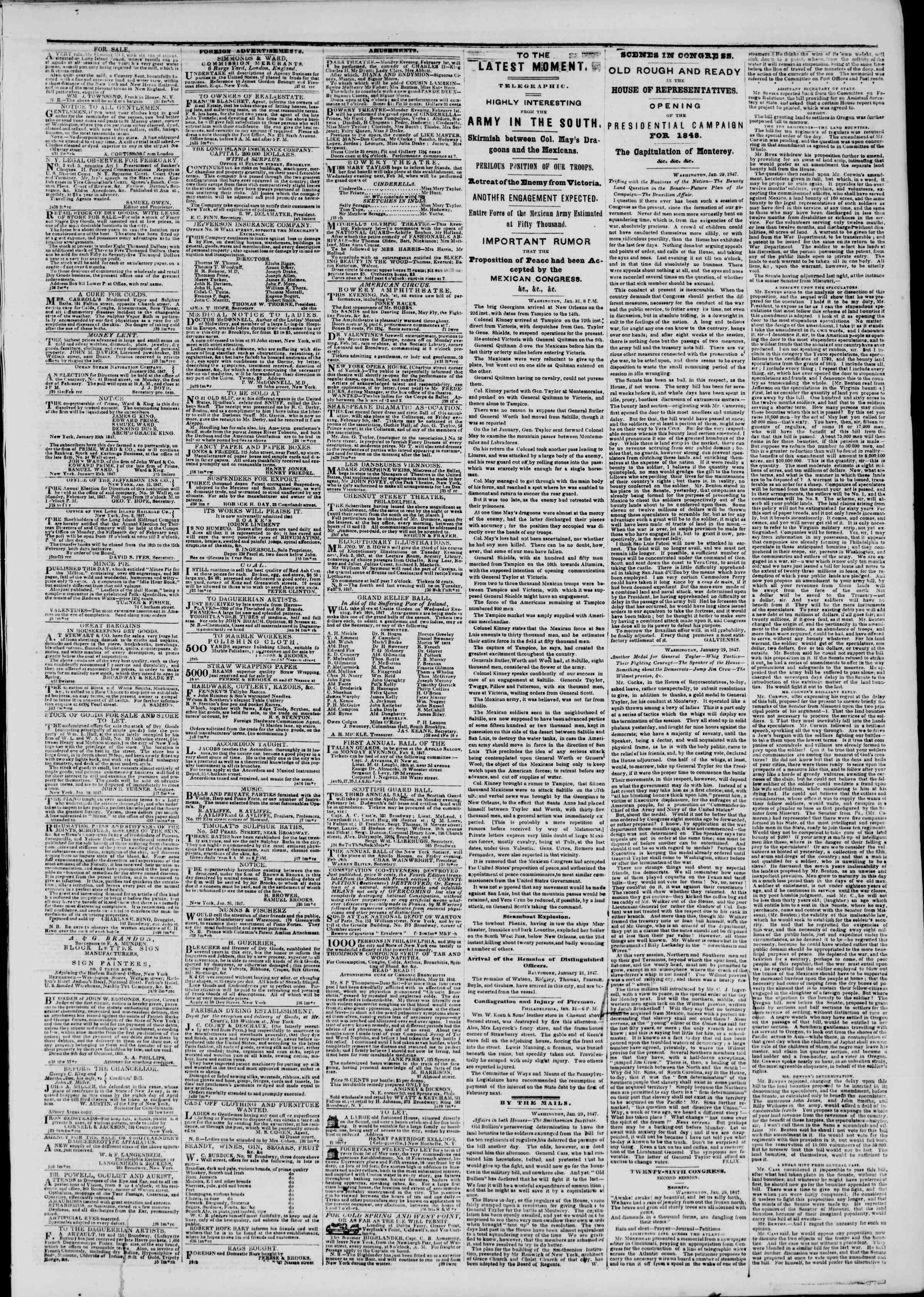Newspaper of The New York Herald dated February 1, 1847 Page 3