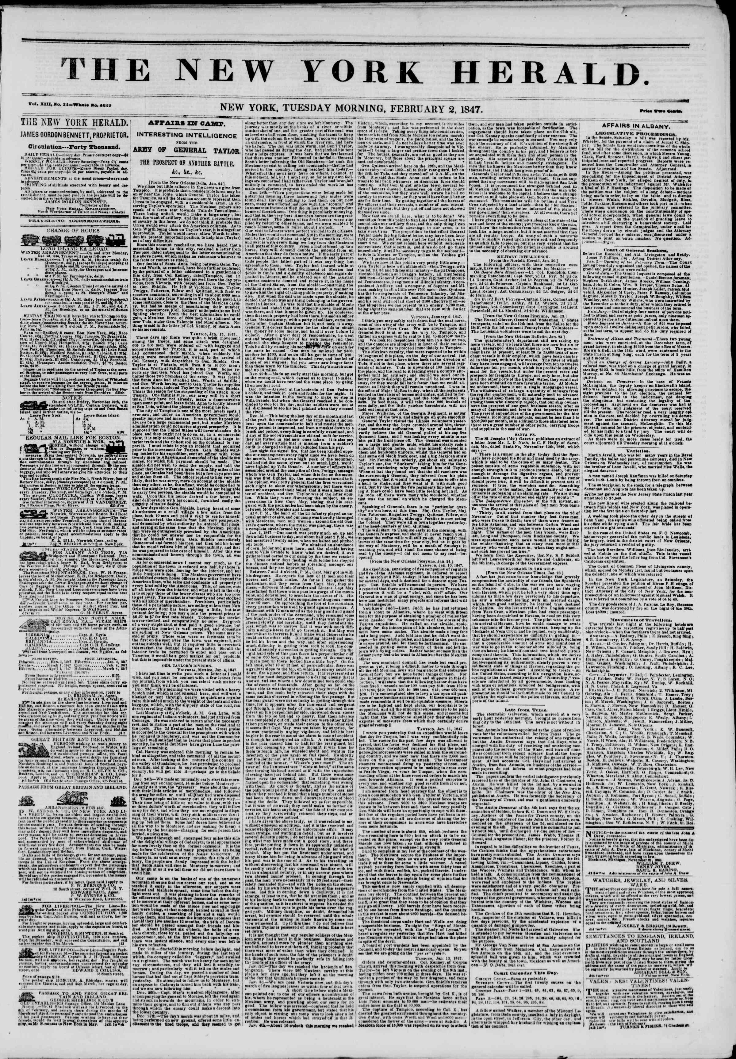Newspaper of The New York Herald dated February 2, 1847 Page 1