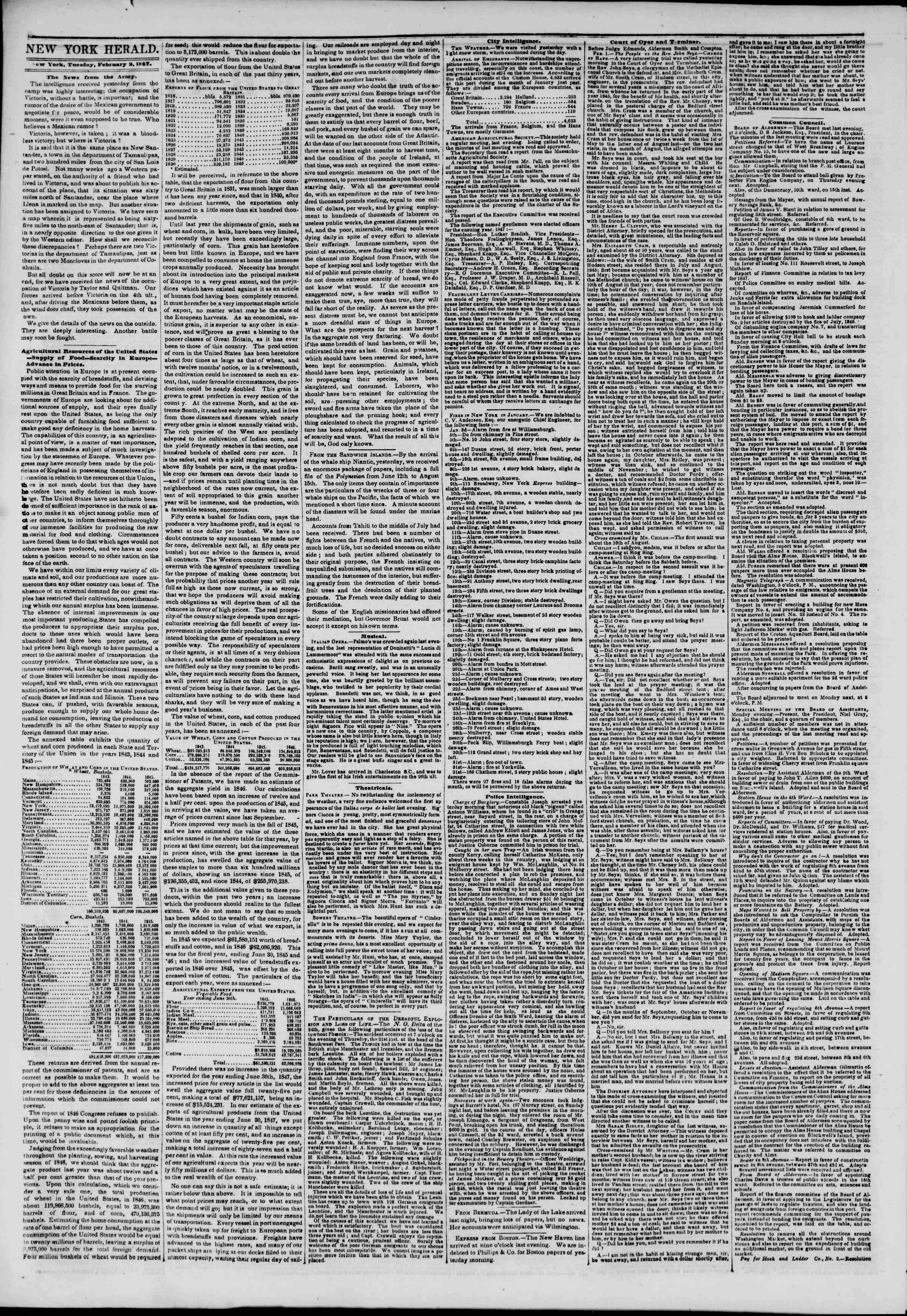 Newspaper of The New York Herald dated February 2, 1847 Page 2
