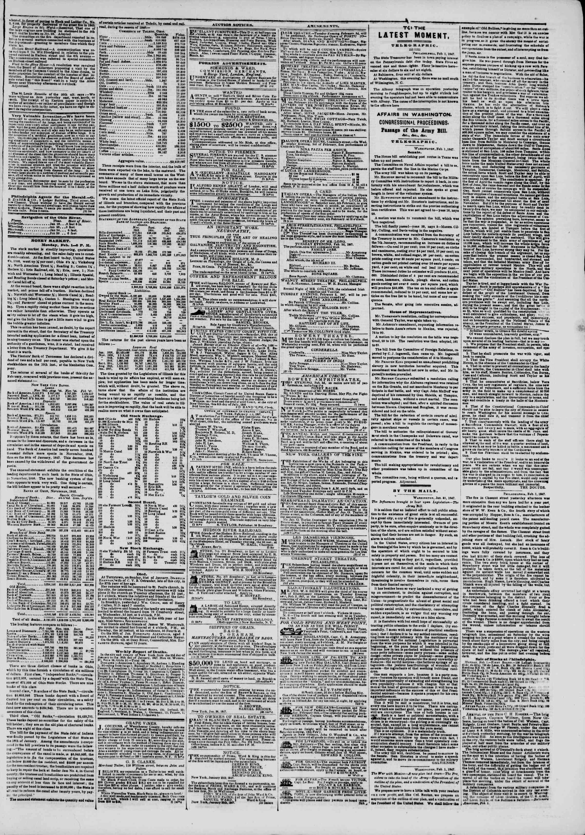 Newspaper of The New York Herald dated February 2, 1847 Page 3