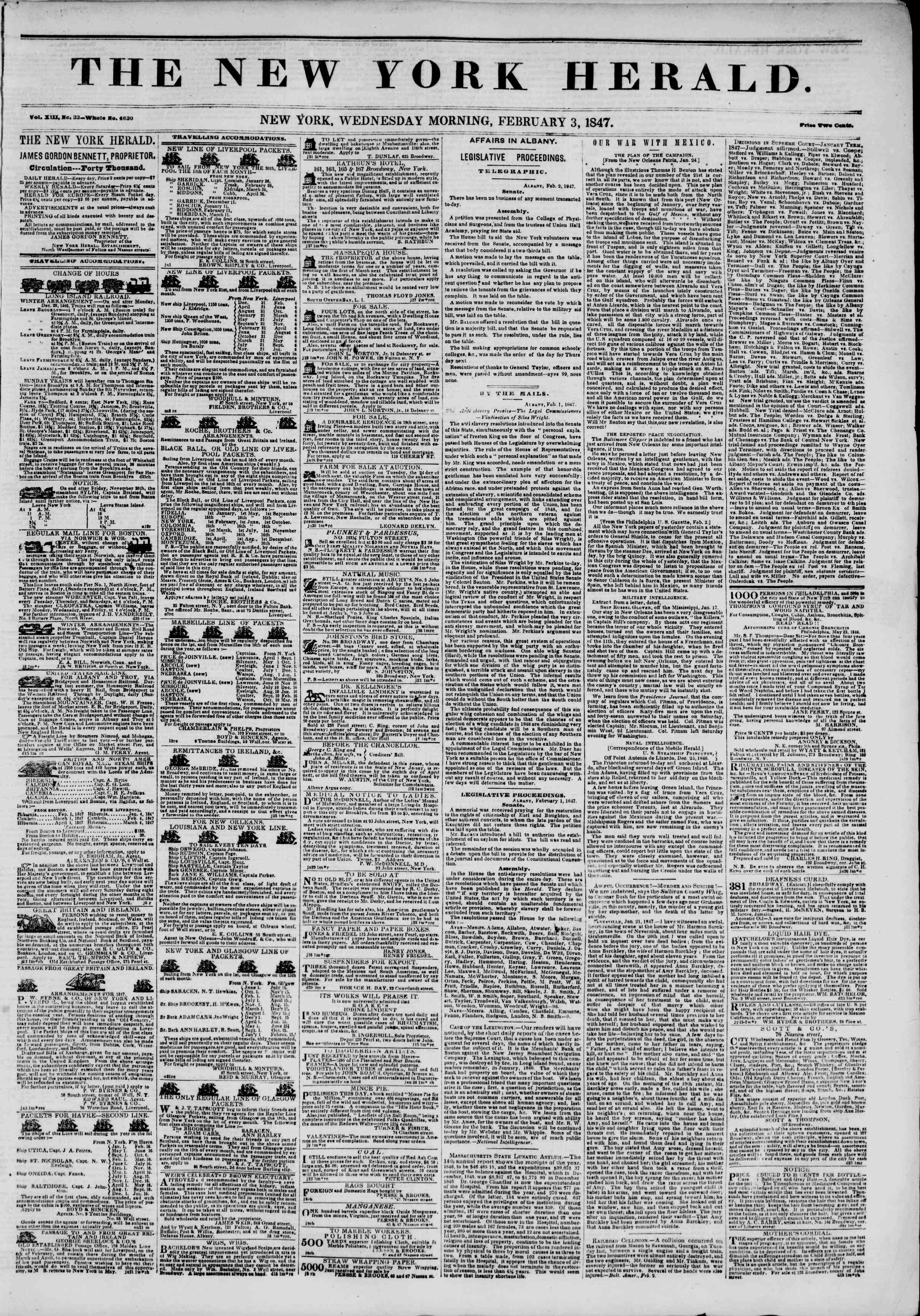 Newspaper of The New York Herald dated February 3, 1847 Page 1