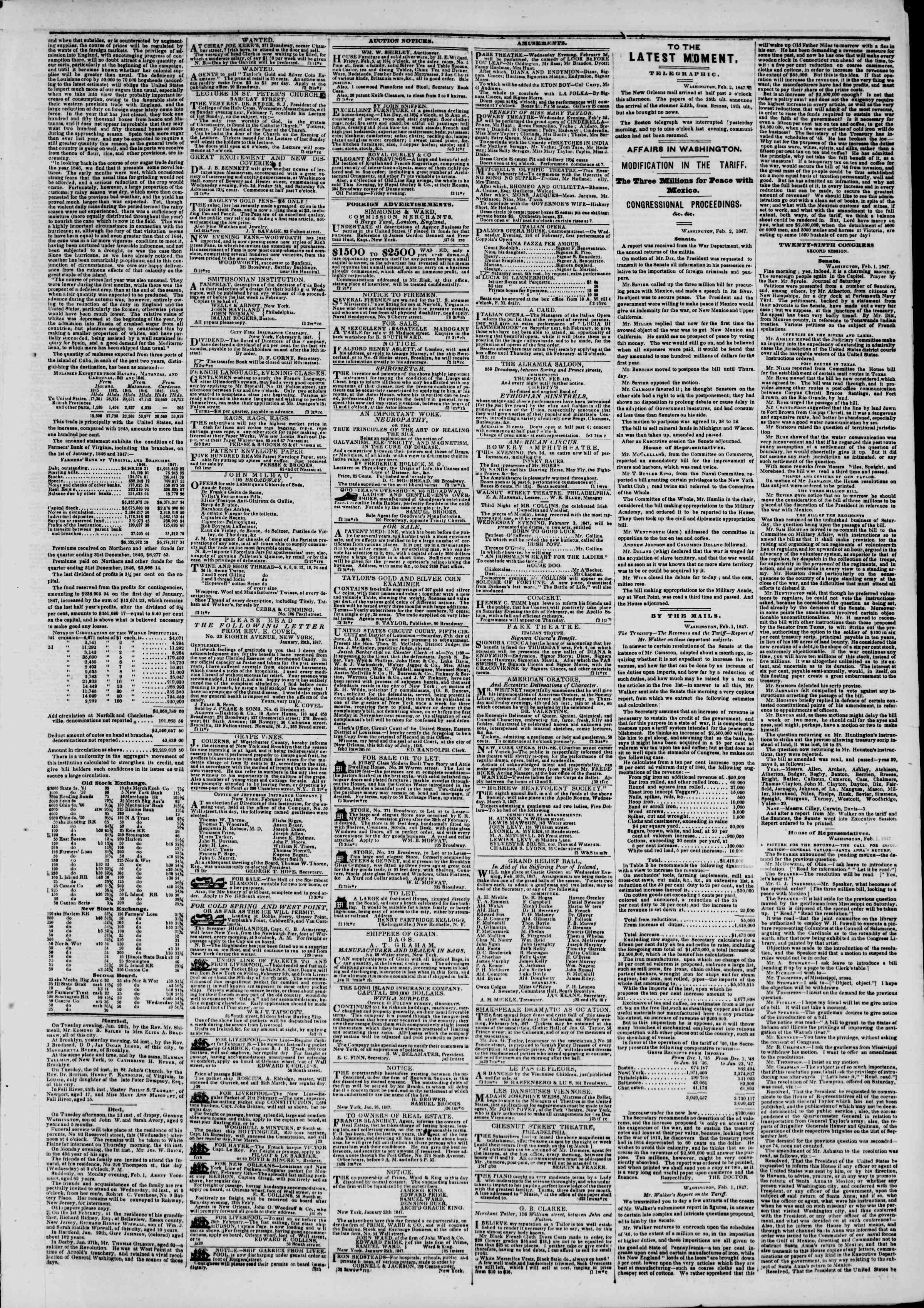 Newspaper of The New York Herald dated February 3, 1847 Page 3