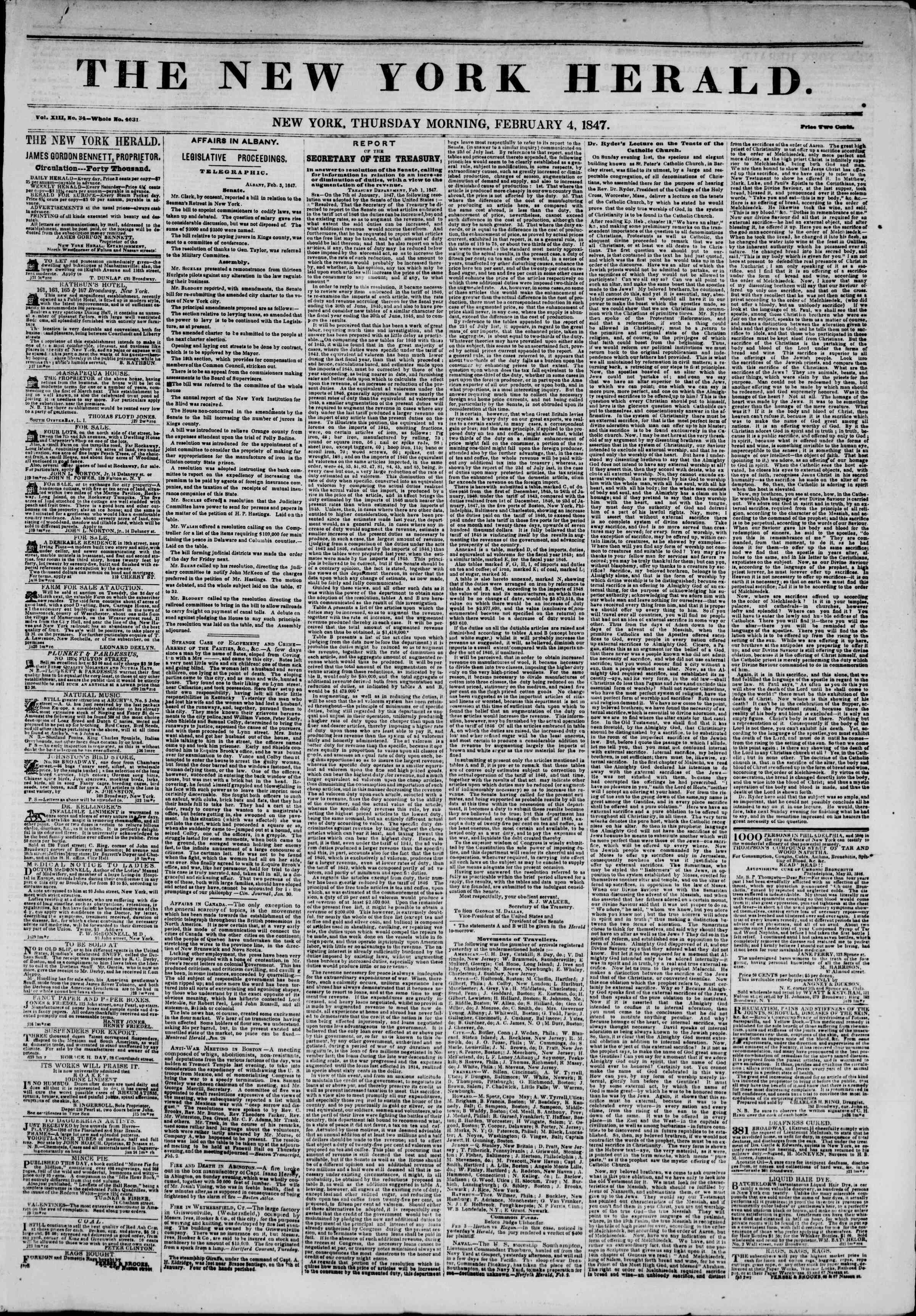 Newspaper of The New York Herald dated February 4, 1847 Page 1