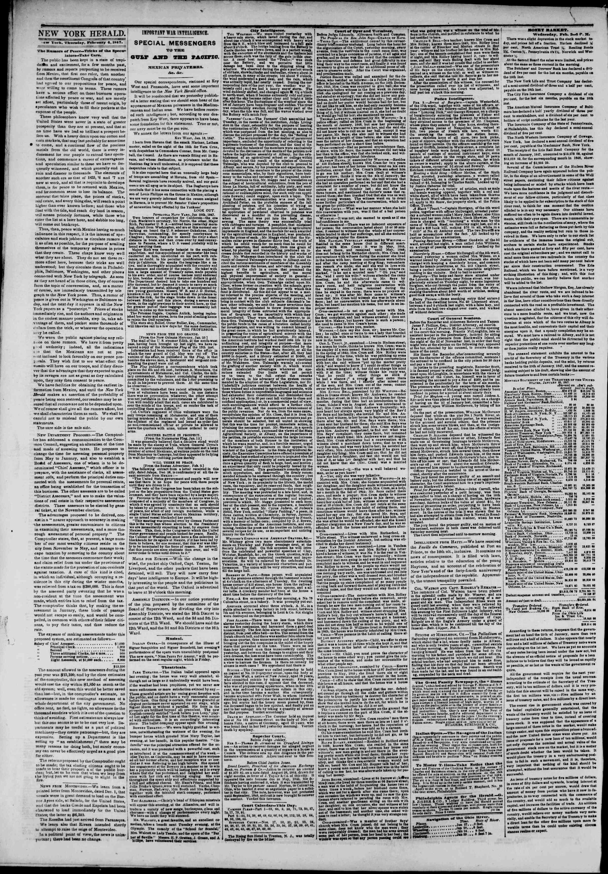 Newspaper of The New York Herald dated February 4, 1847 Page 2