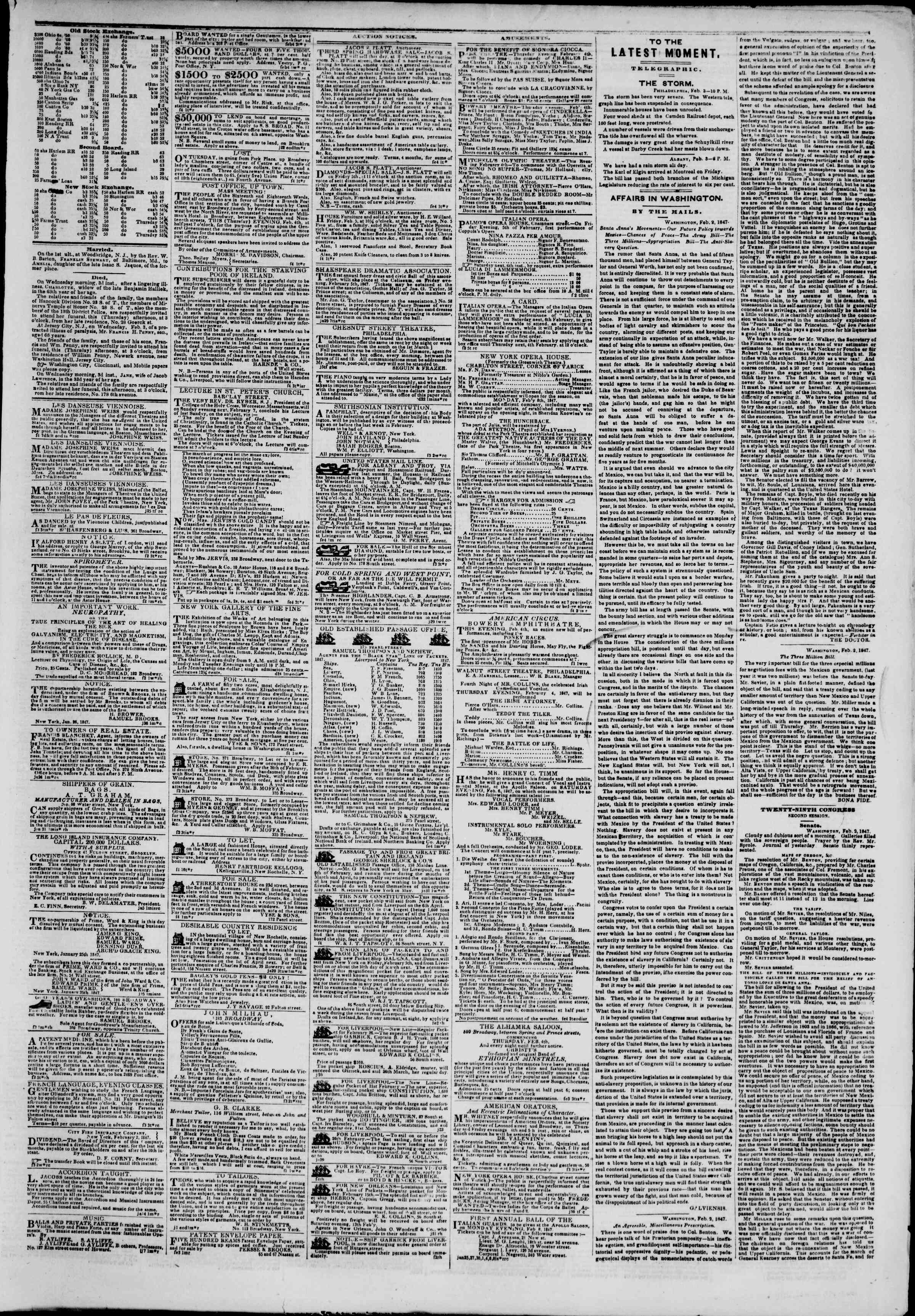 Newspaper of The New York Herald dated February 4, 1847 Page 3