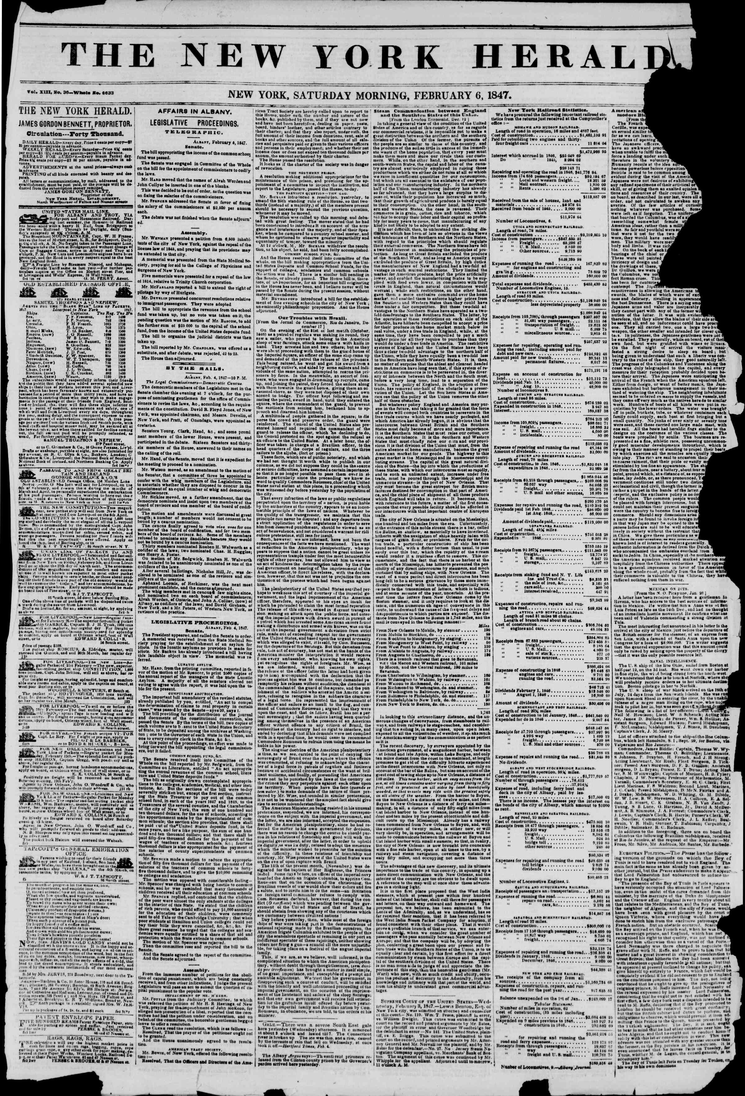 Newspaper of The New York Herald dated 6 Şubat 1847 Page 1