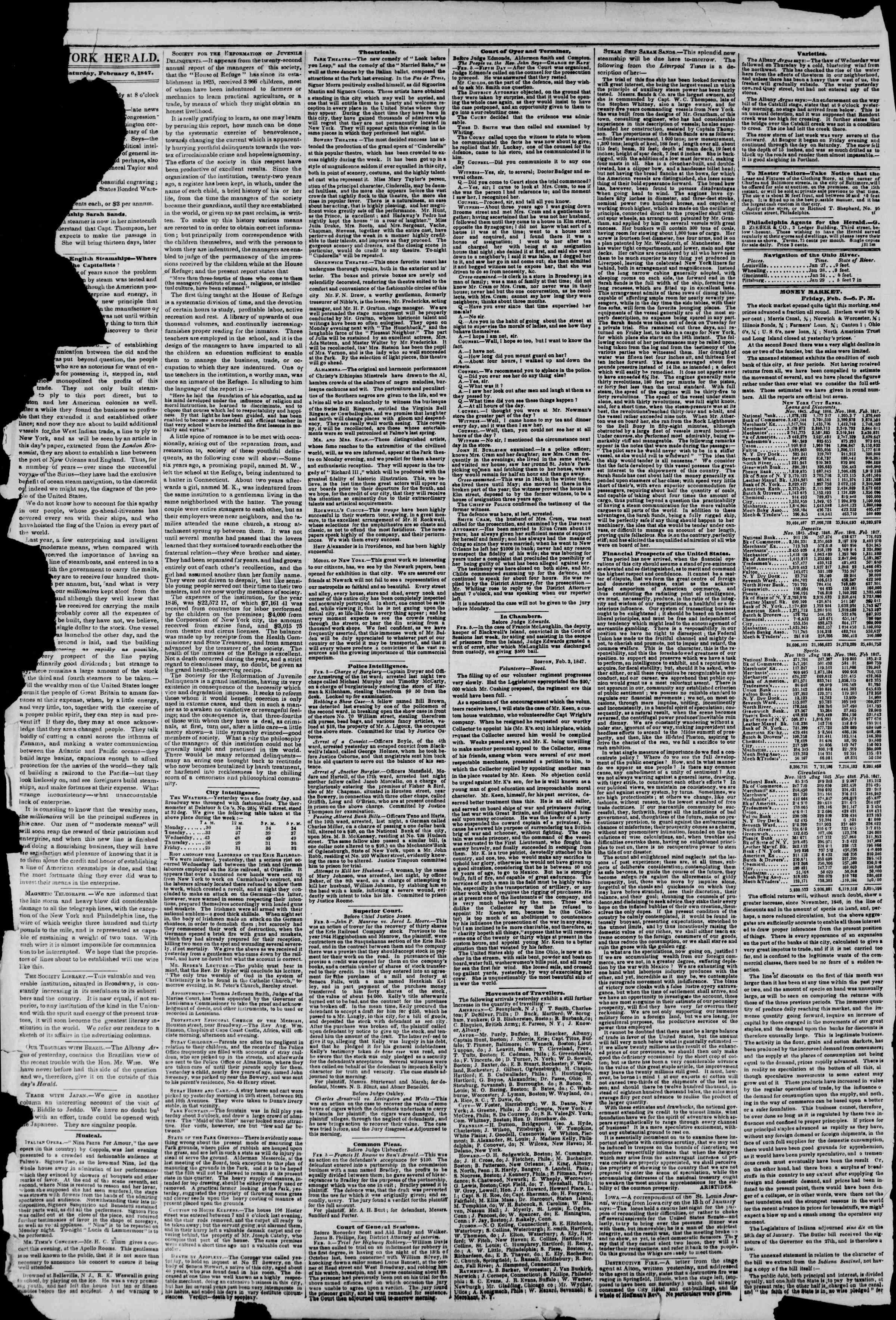 6 Şubat 1847 tarihli The New York Herald Gazetesi Sayfa 2